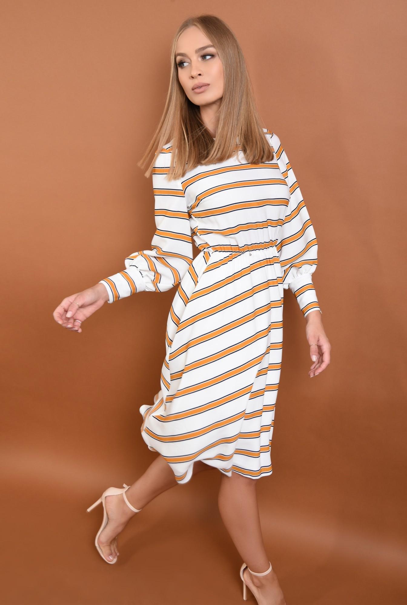 0 - 360 - rochie casual imprimata, alb, mustar, bie, cusatura in talie