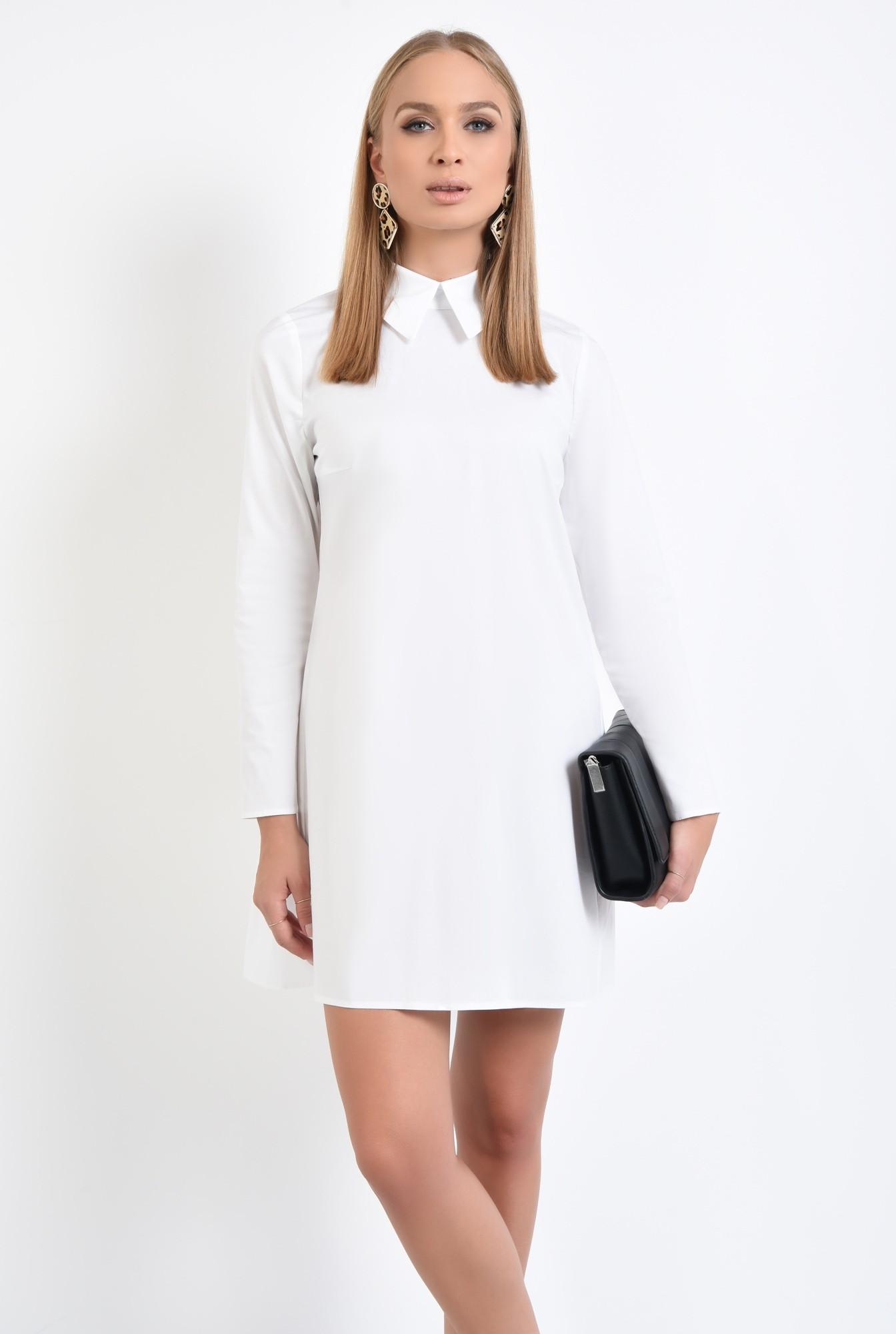 2 - rochie casual, croi lejer, pliuri, guler aplicat, stil camasa