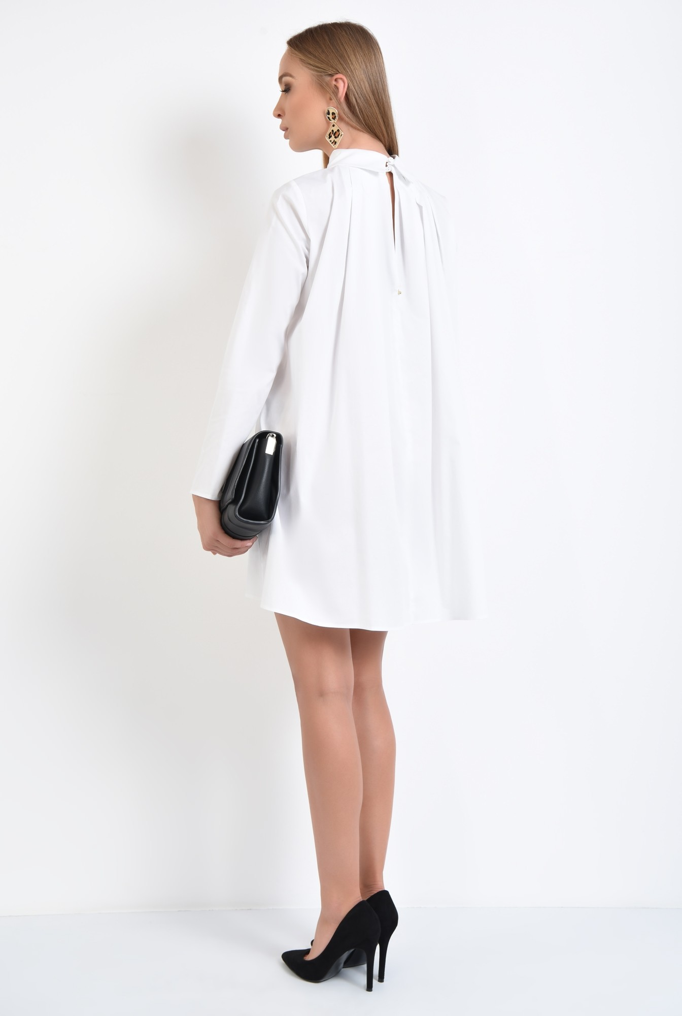1 - rochie casual, croi lejer, pliuri, guler aplicat, stil camasa