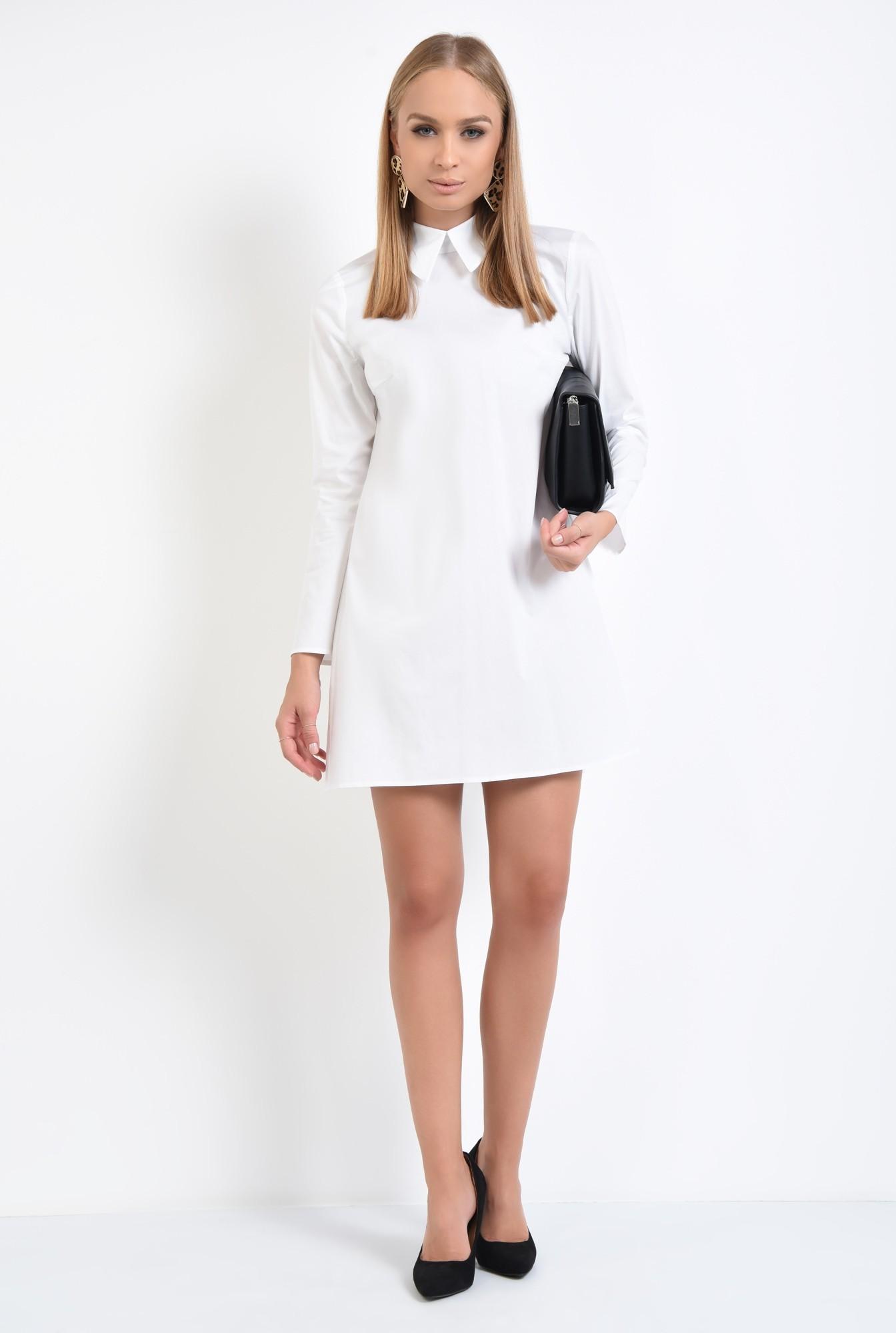 3 - rochie casual, croi lejer, pliuri, guler aplicat, stil camasa