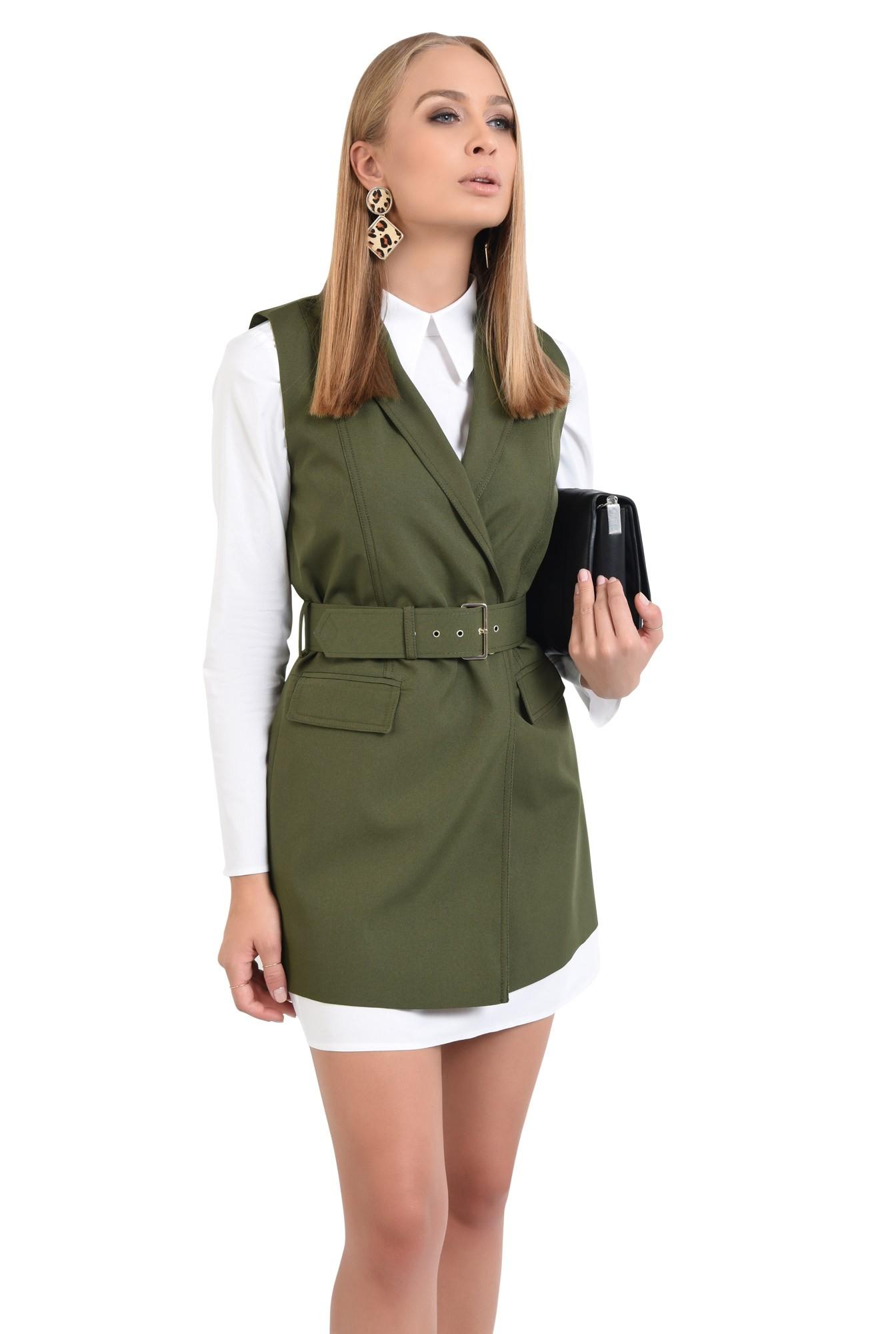 0 - rochie casual, croi lejer, pliuri, guler aplicat, stil camasa
