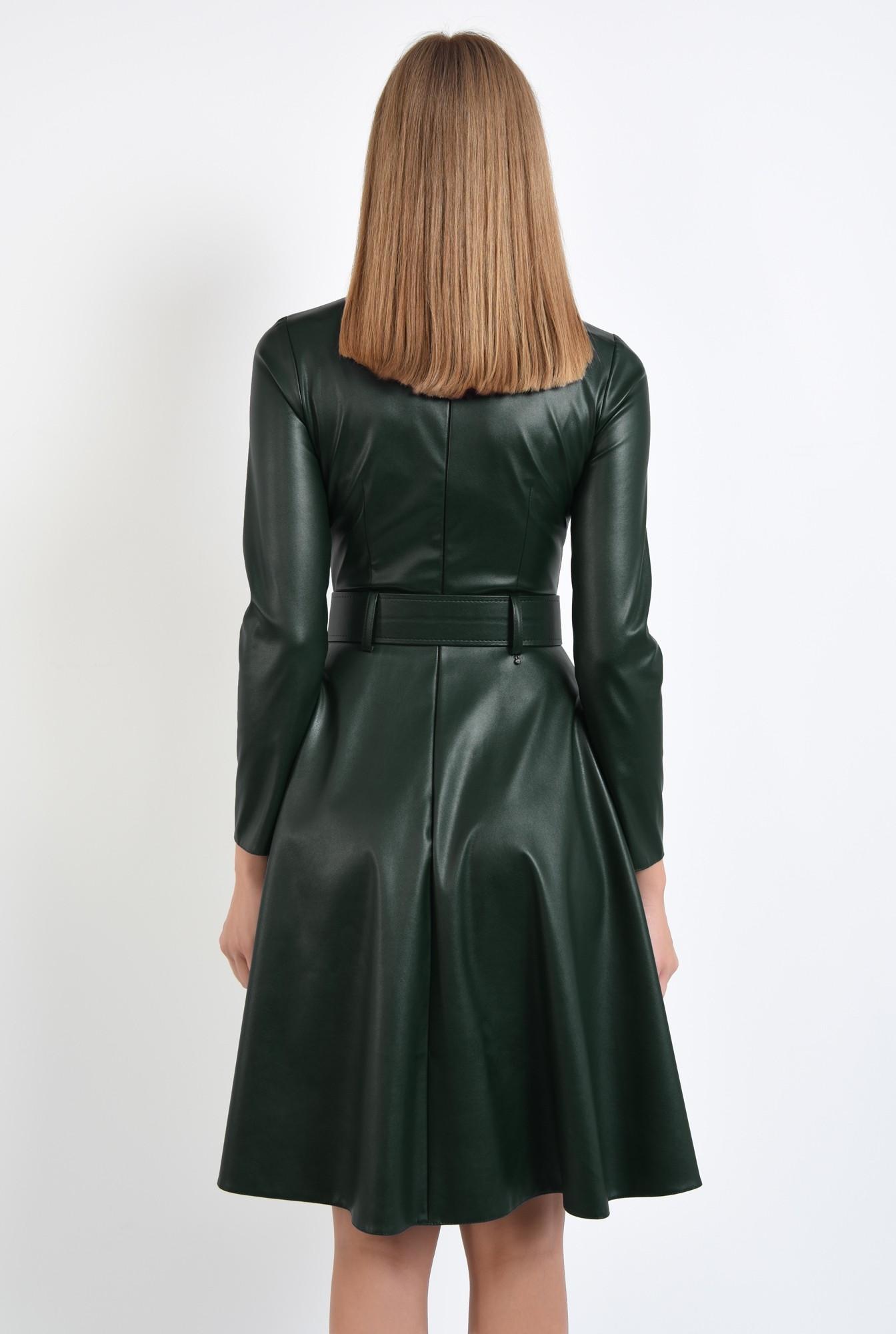 1 - rochie casual verde, centura, cambrata, fermoar la spate, rochii online