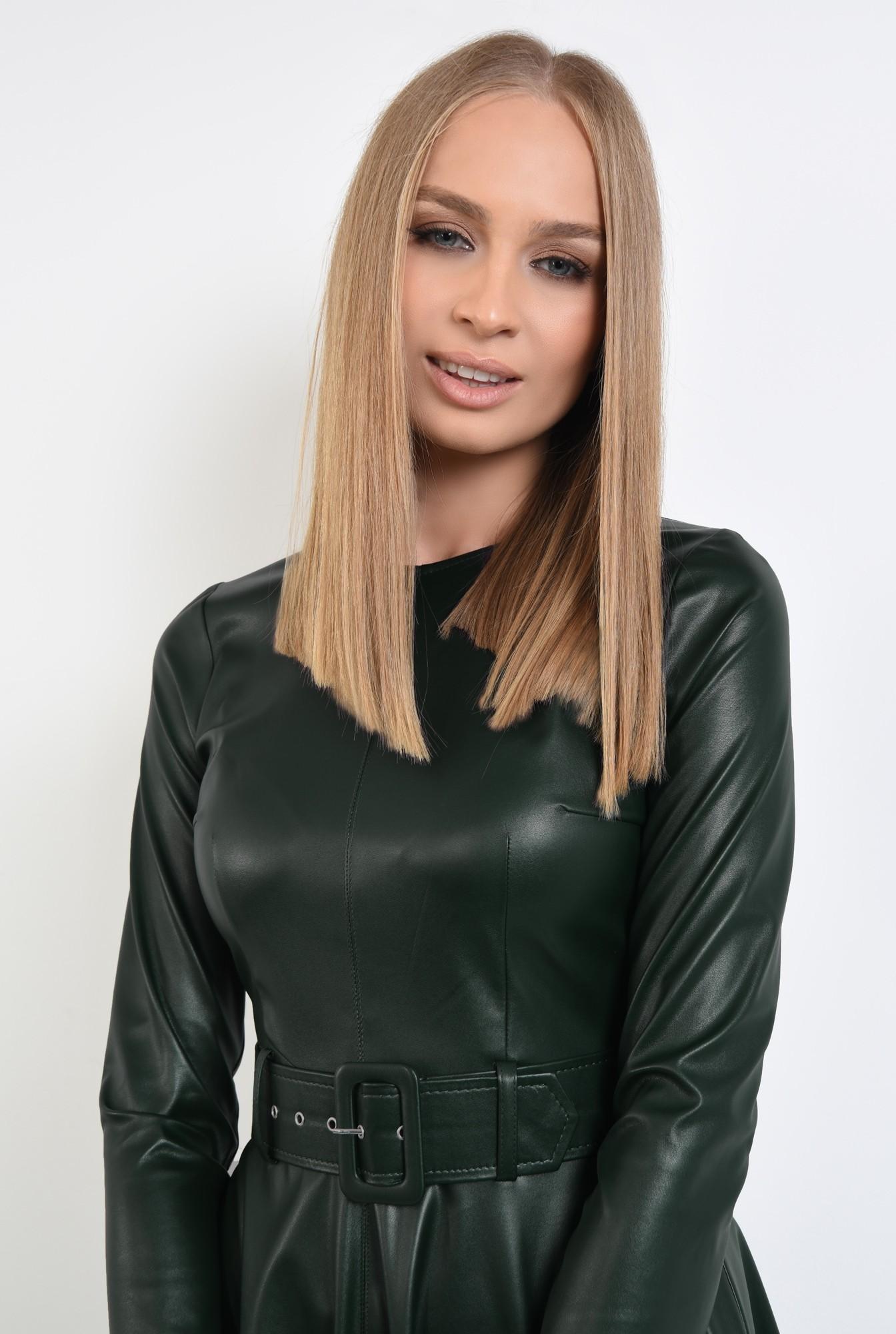 2 - rochie casual verde, centura, cambrata, fermoar la spate, rochii online