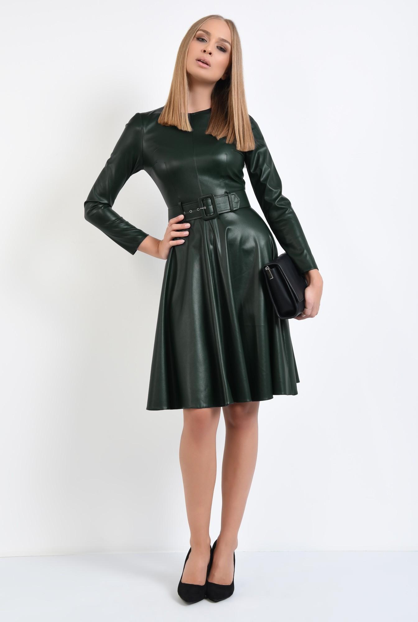 3 - rochie casual verde, centura, cambrata, fermoar la spate, rochii online
