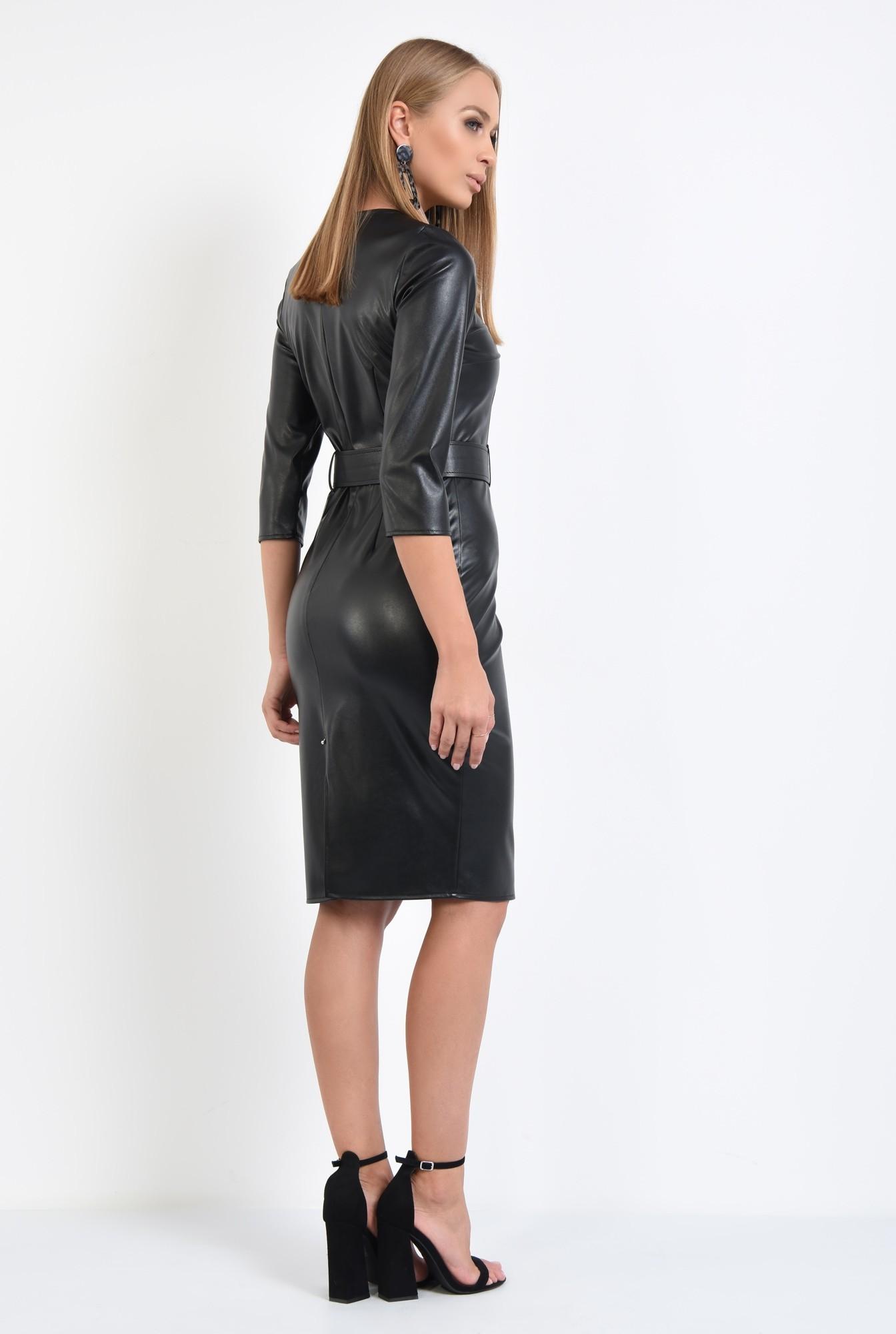 1 - rochie de toamna, neagra, croi conic, cu centura