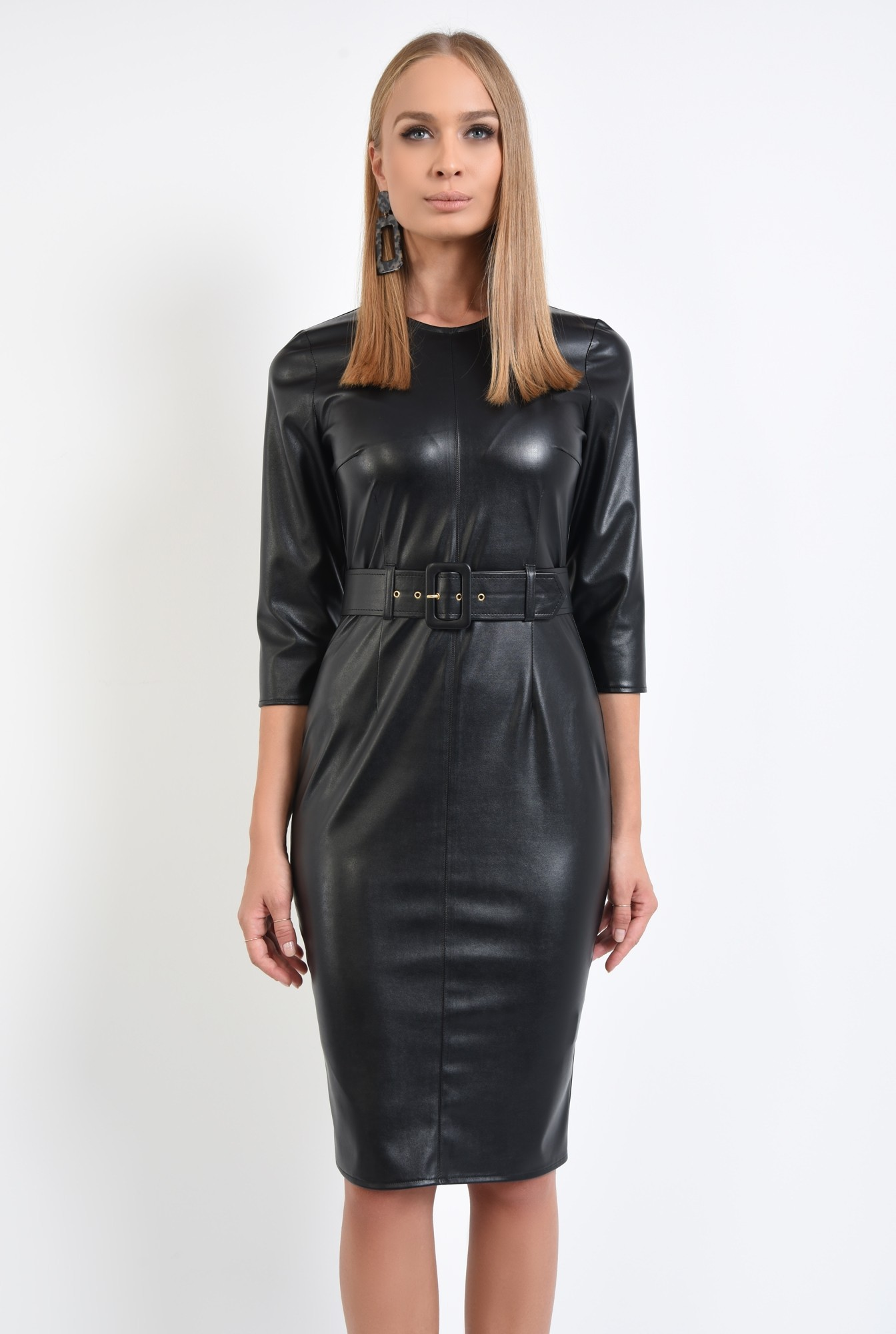 2 - rochie de toamna, neagra, croi conic, cu centura