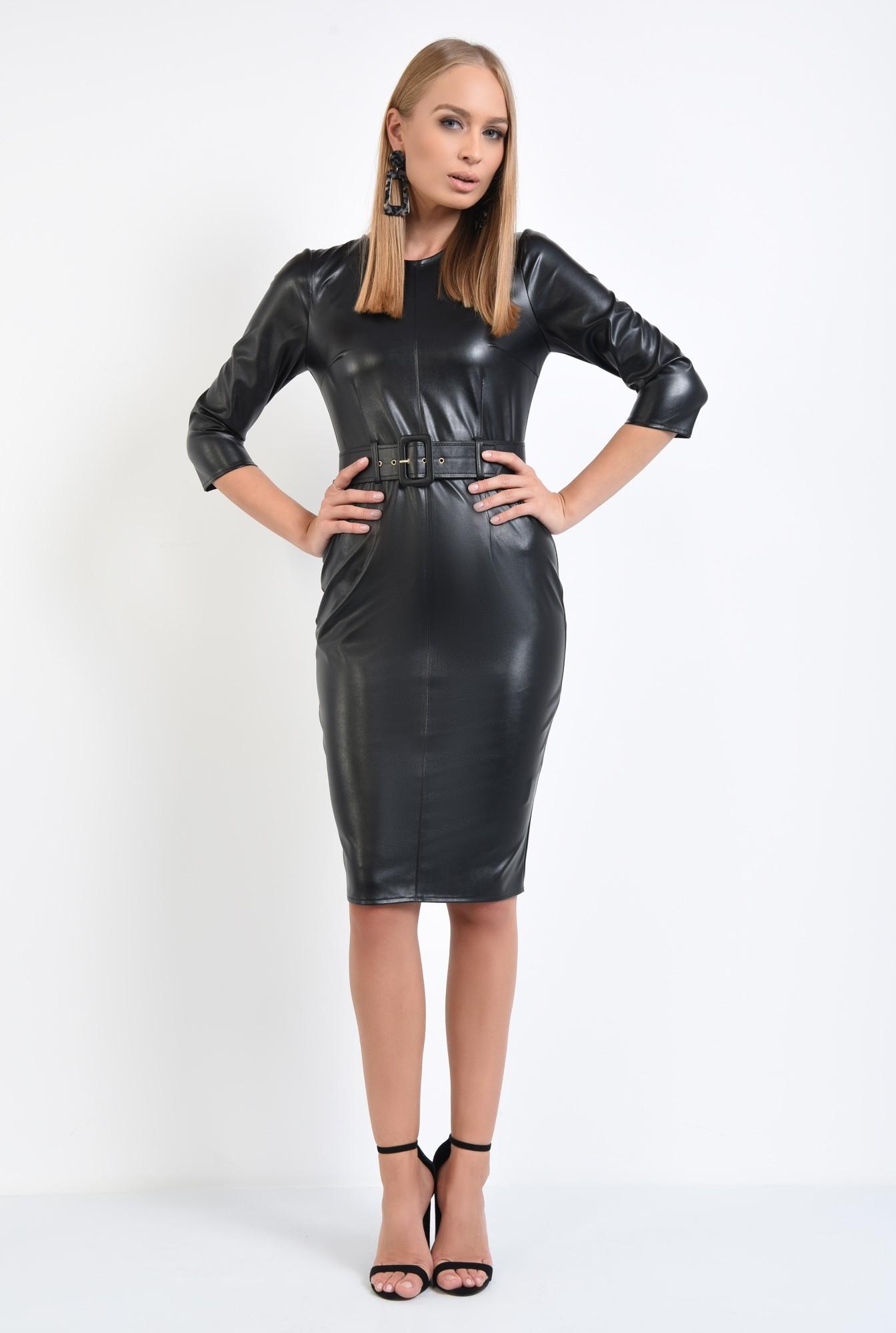 3 - rochie de toamna, neagra, croi conic, cu centura