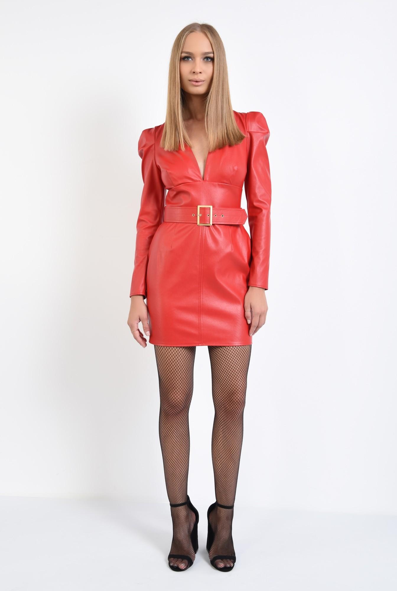 3 - rochie mini, rosie, anchior, cu centura