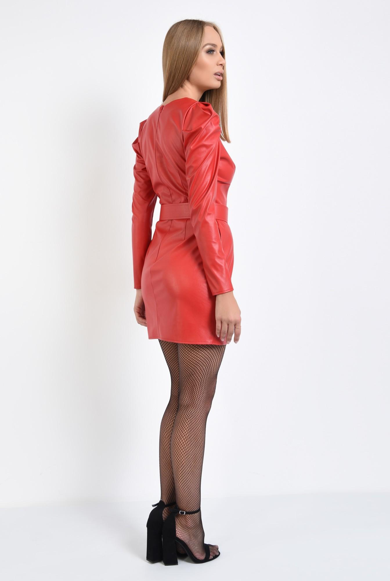 1 - rochie mini, rosie, anchior, cu centura