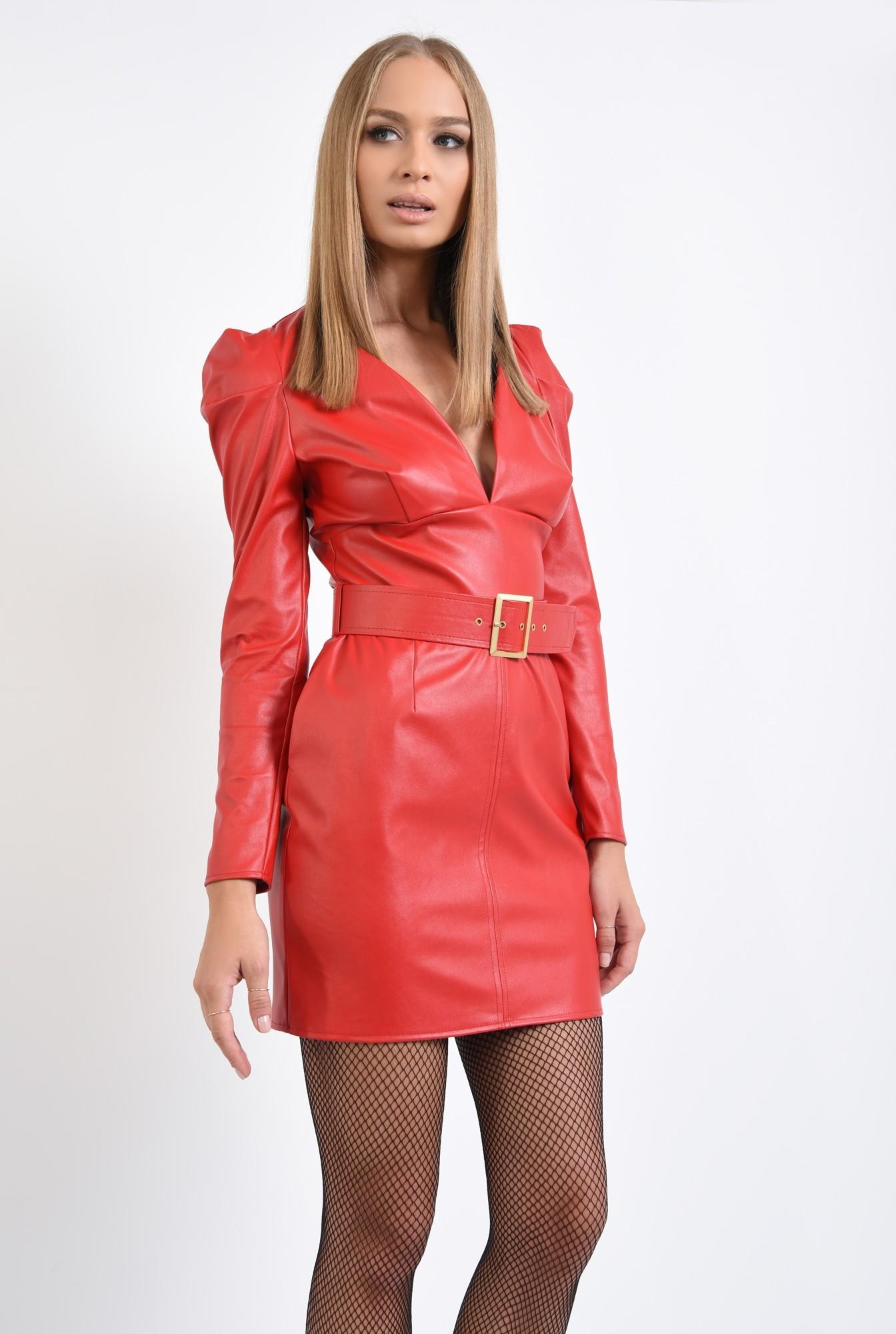 0 - rochie mini, rosie, anchior, cu centura