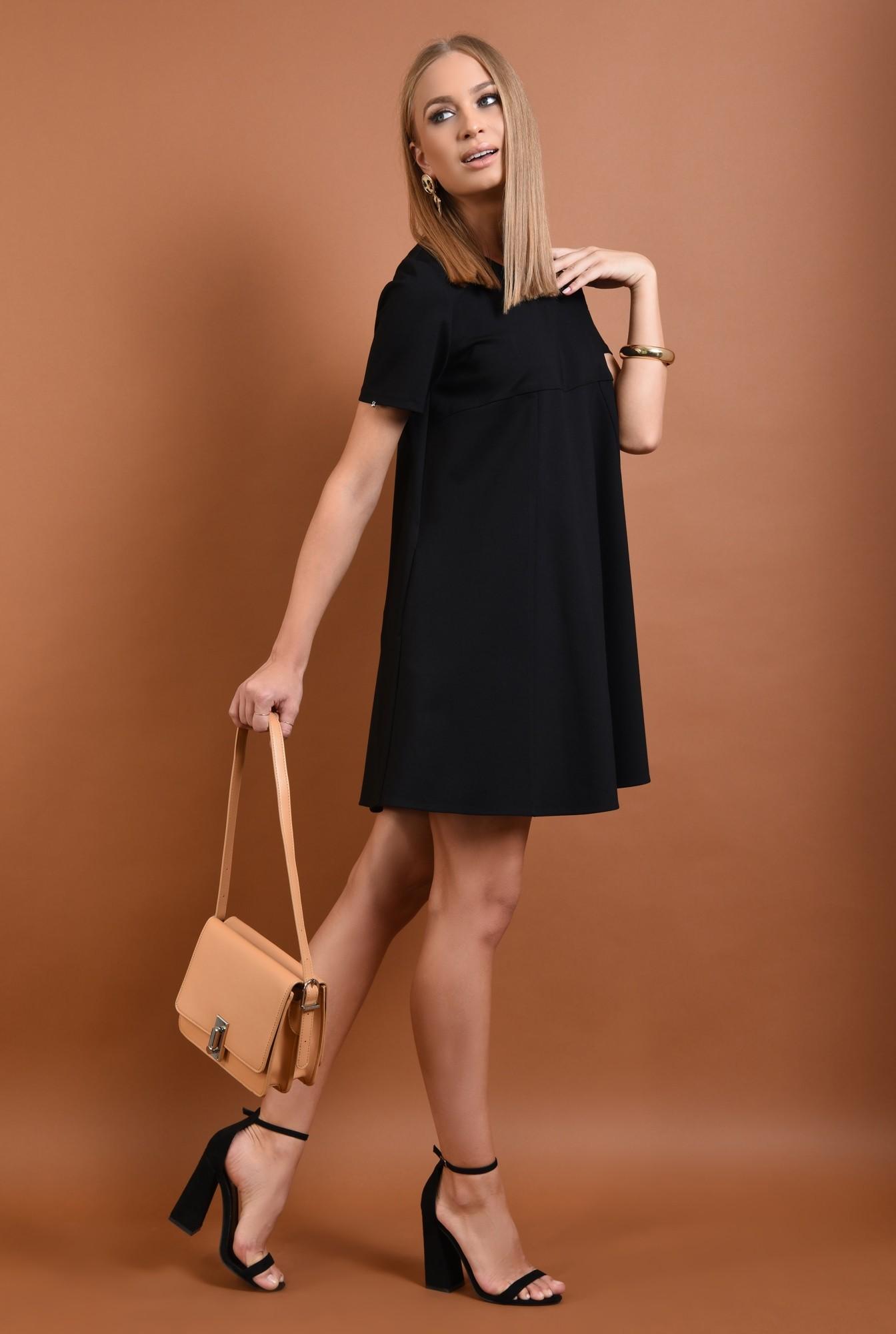 0 - rochie din tricot, neagra, scurta, croi evazat