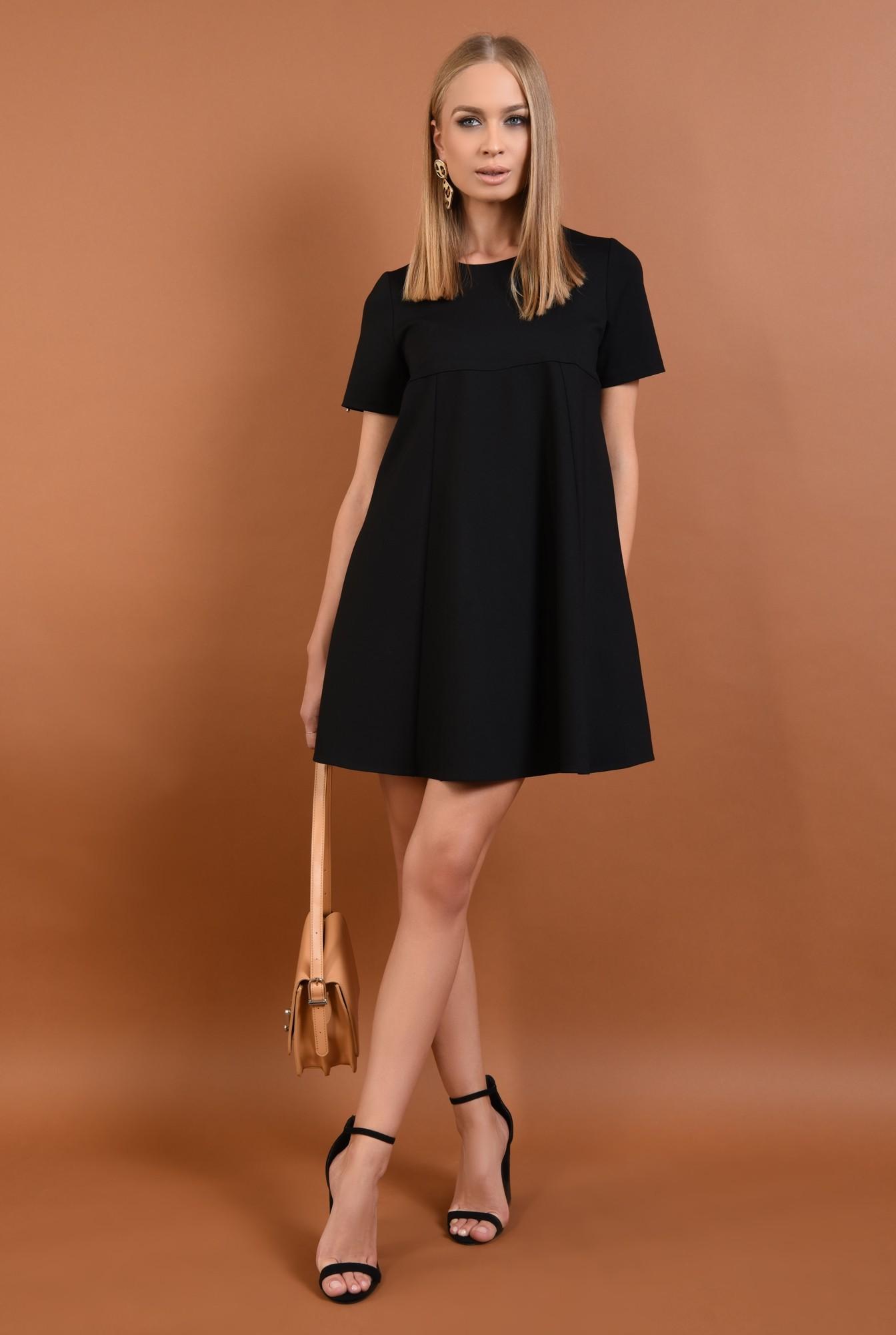 3 - rochie din tricot, neagra, scurta, croi evazat