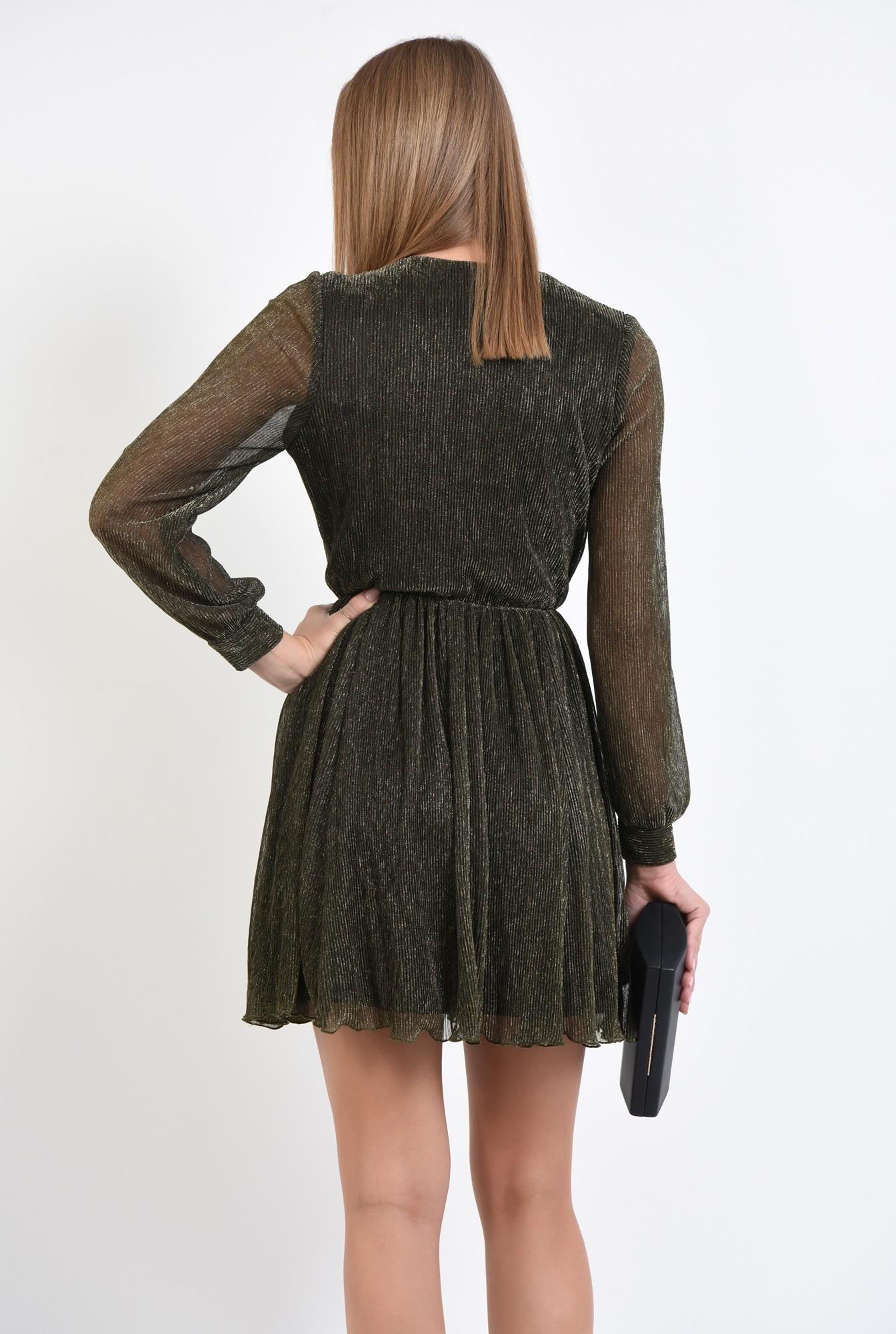 1 - 360 - rochie de seara, scurta, maneci lungi transparente, lurex auriu