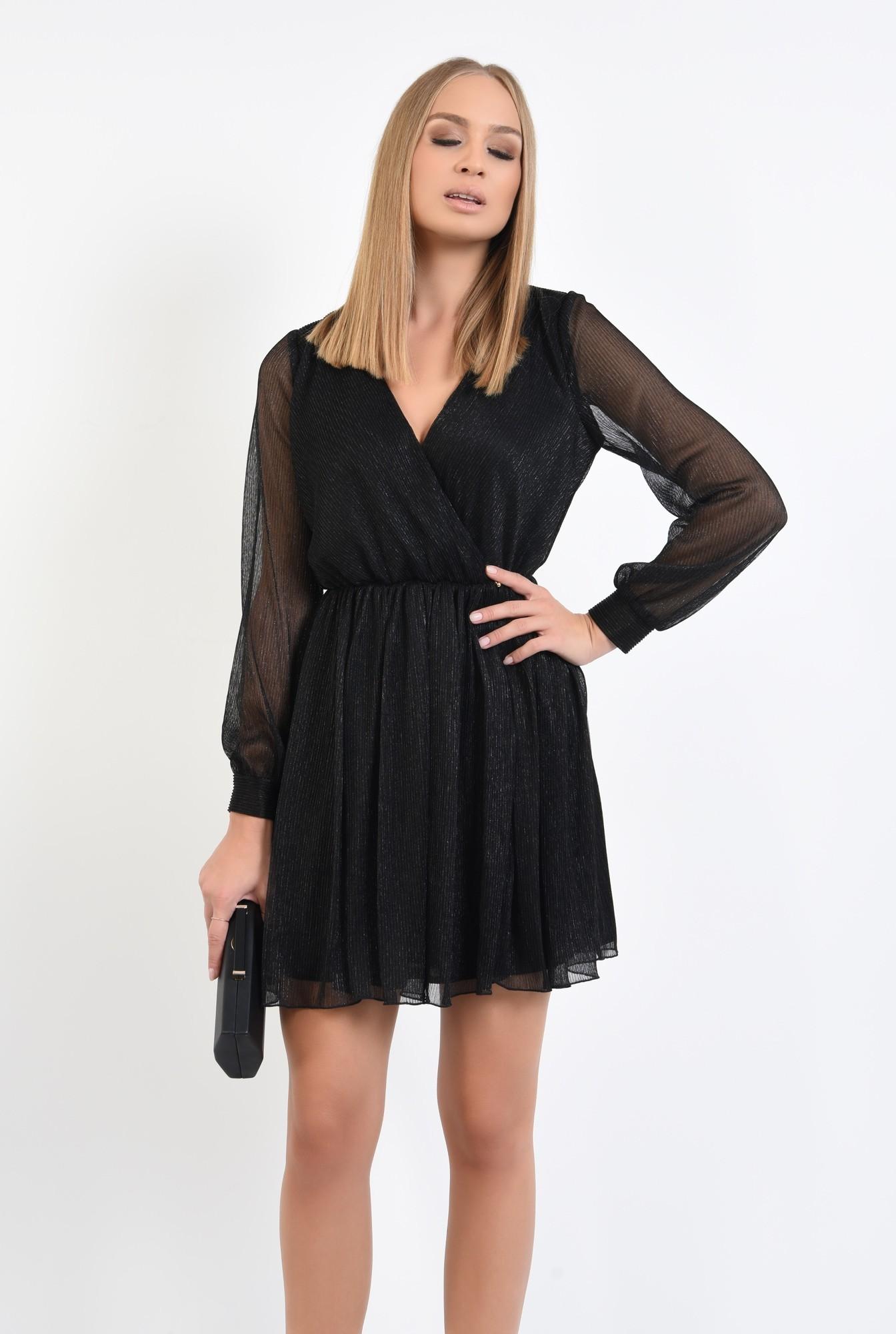 0 - 360 - rochie eleganta, mini, anchior petrecut, negru