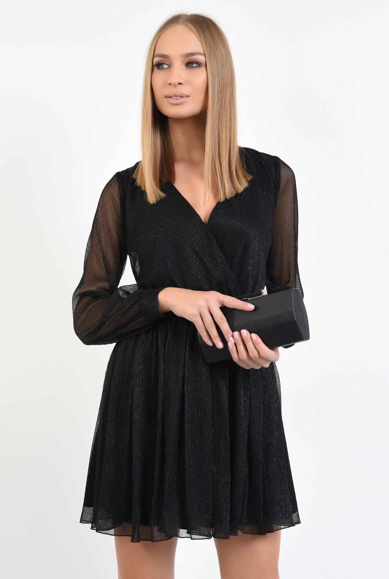 2 - 360 - rochie eleganta, mini, anchior petrecut, negru