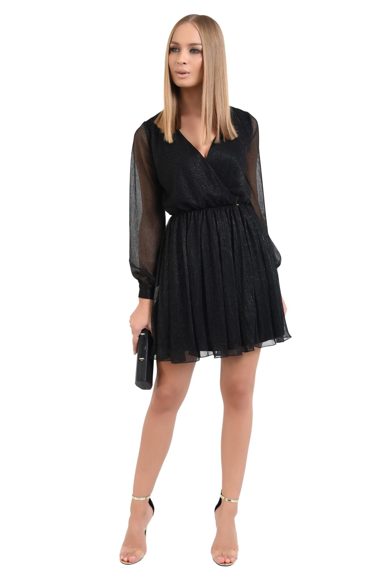 3 - 360 - rochie eleganta, mini, anchior petrecut, negru