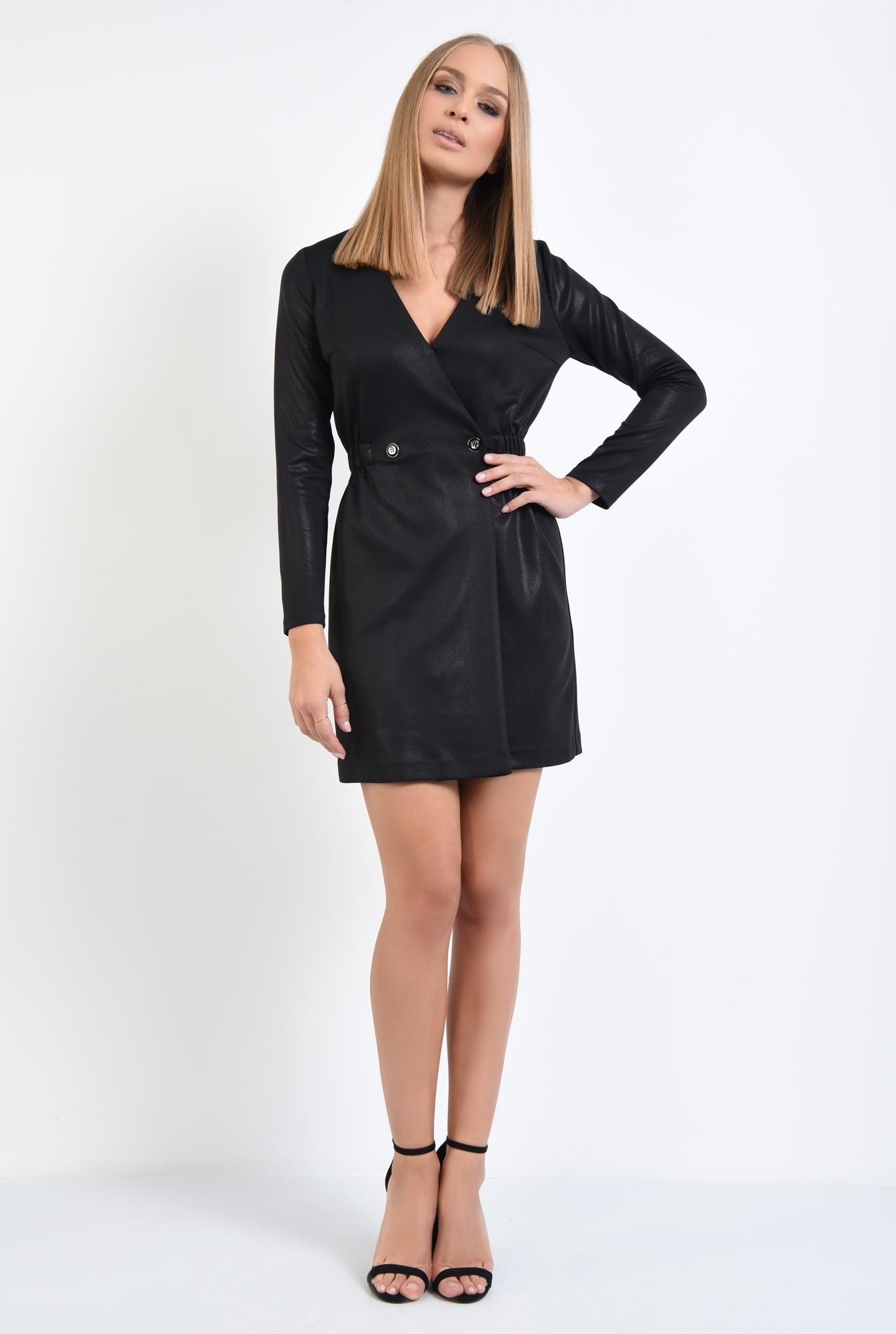 3 - rochie neagra, maneci lungi, scuba, anchior petrecut