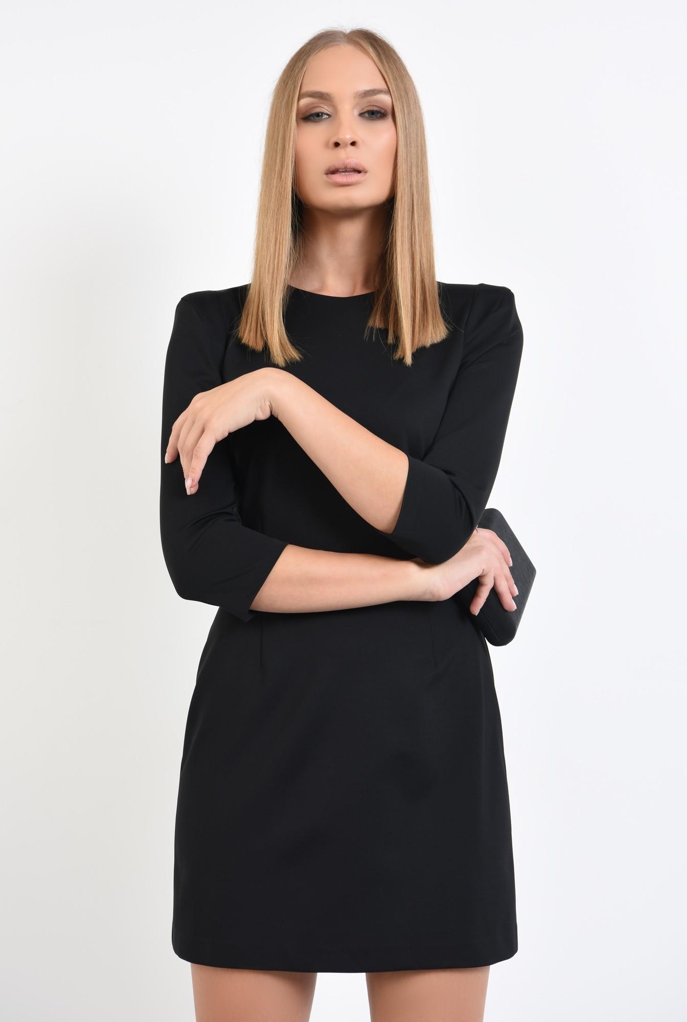 2 - 360 - rochie mini, neagra, maneci 3/4, croi usor evazat