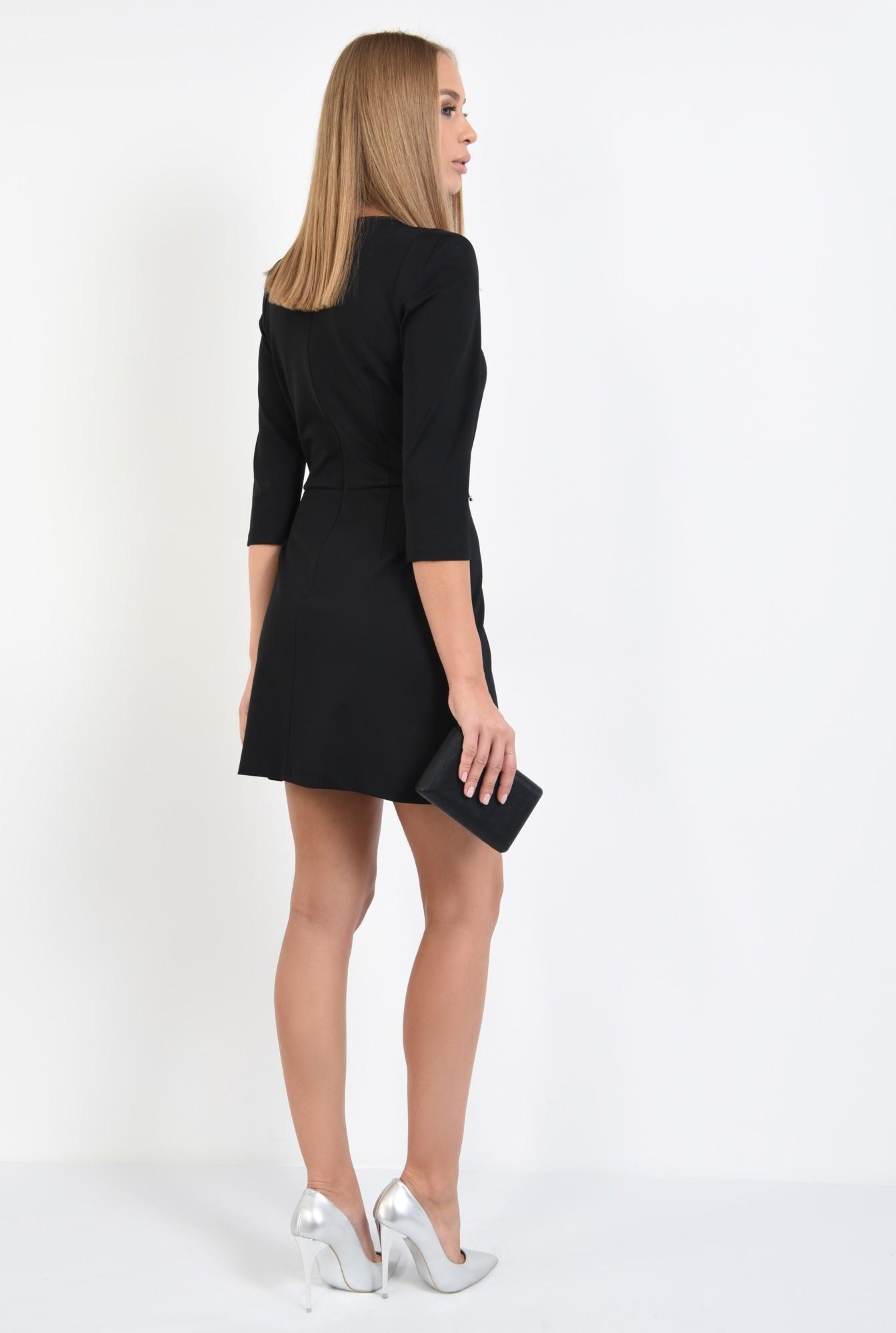 1 - 360 - rochie mini, neagra, maneci 3/4, croi usor evazat