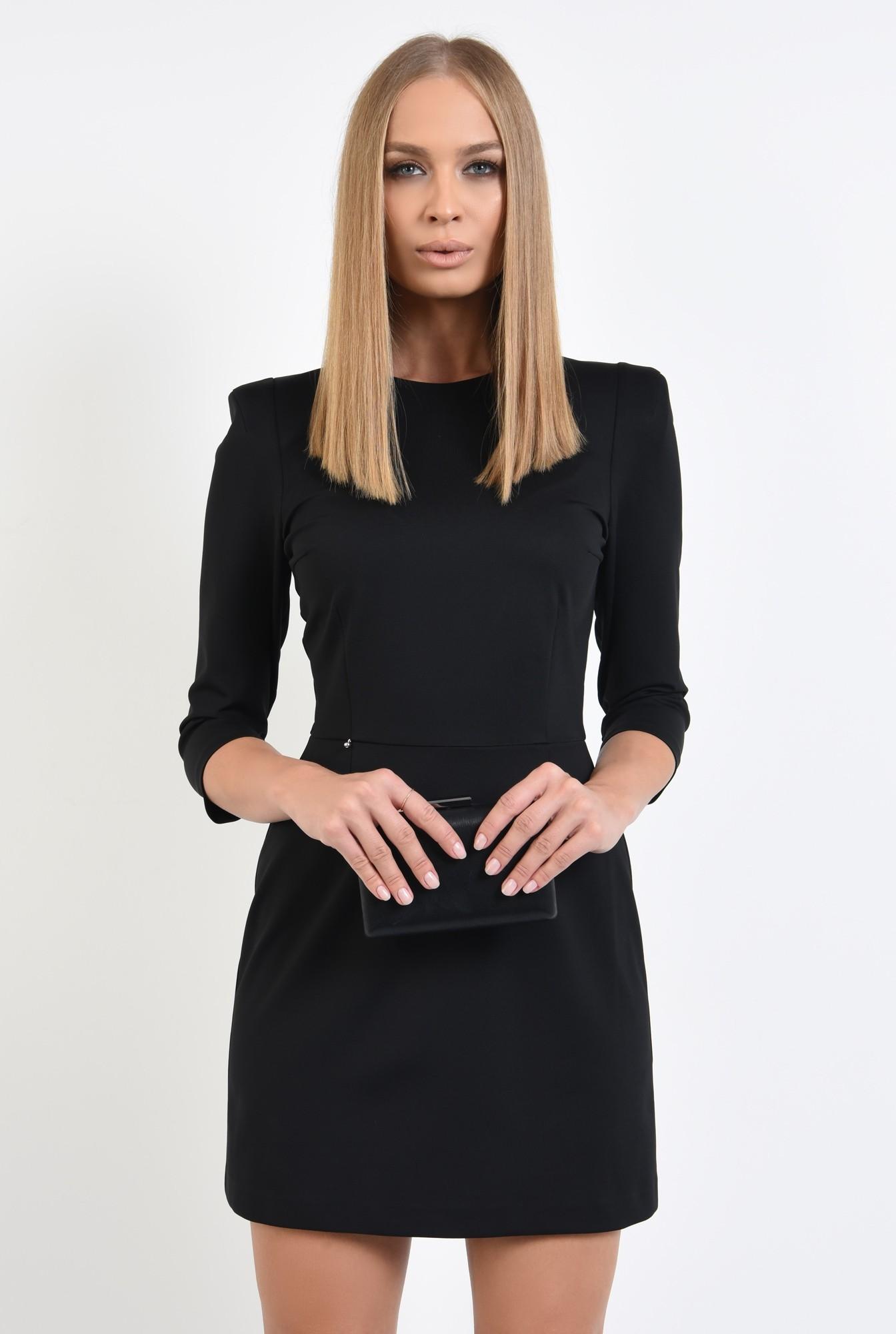 0 - 360 - rochie mini, neagra, maneci 3/4, croi usor evazat