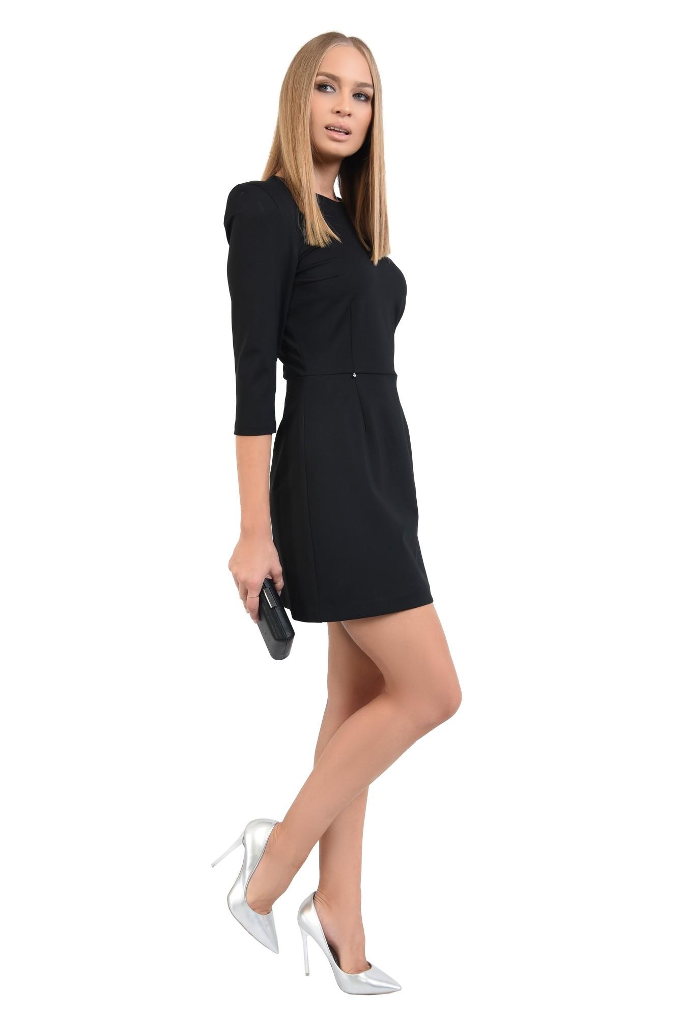 3 - 360 - rochie mini, neagra, maneci 3/4, croi usor evazat