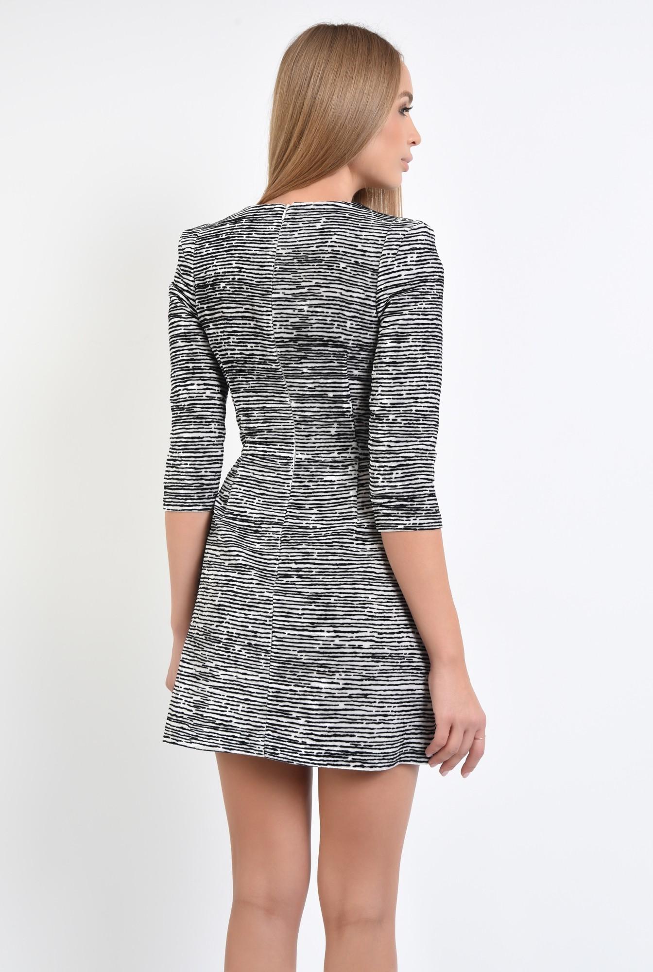1 - 360 - rochie mini, animal print, zebra, alb-negru
