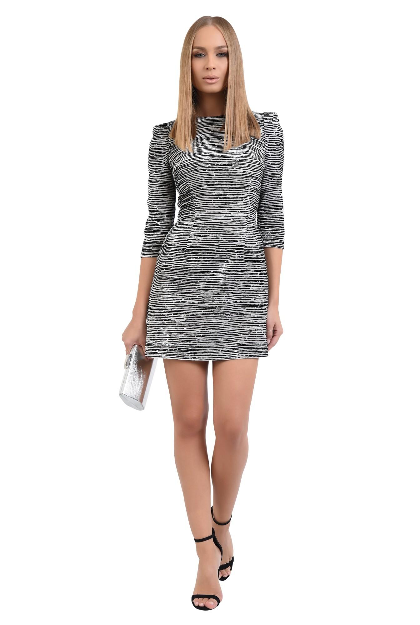 3 - 360 - rochie mini, animal print, zebra, alb-negru