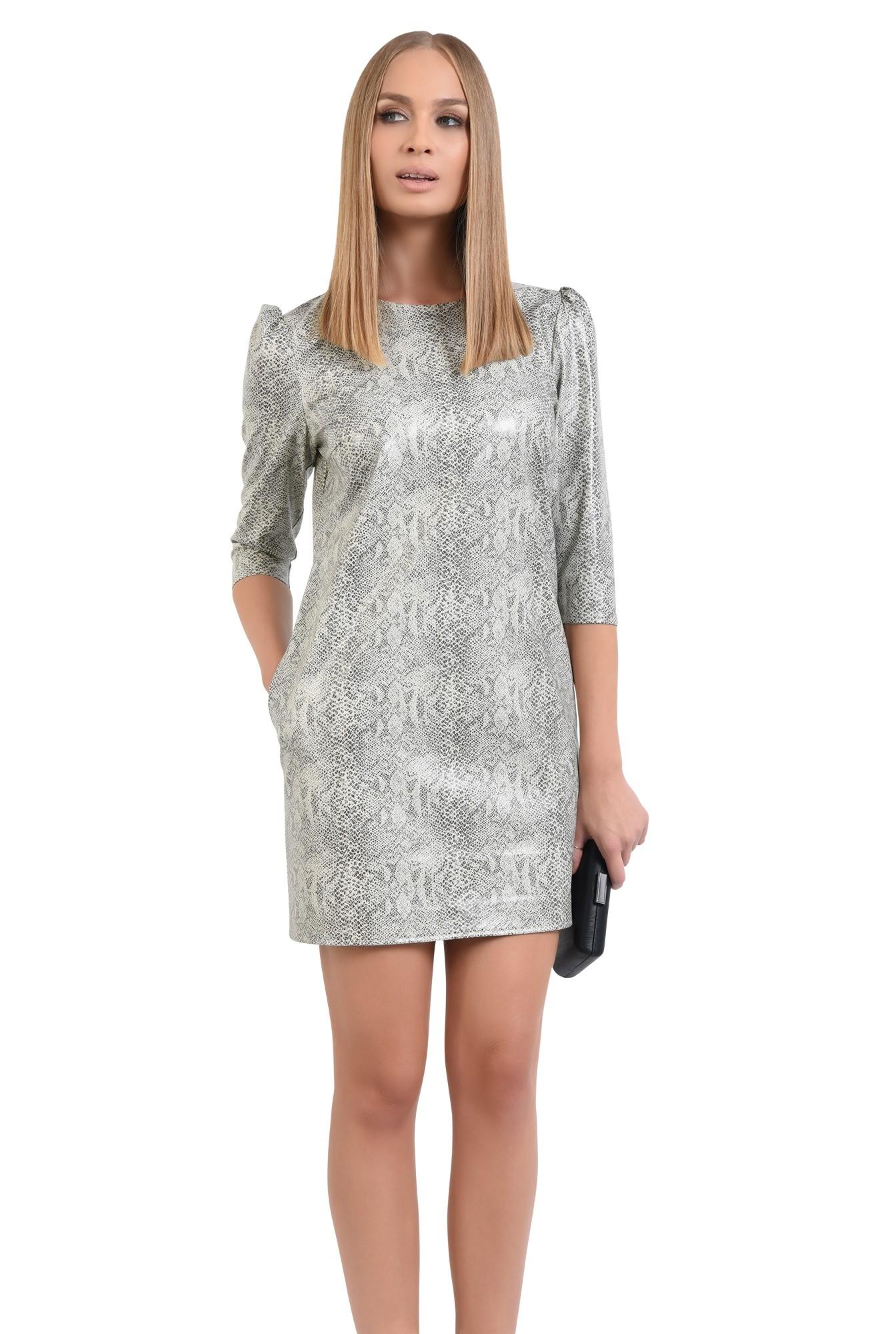 0 - rochie casual, piele eco, snakeskin, rochii online