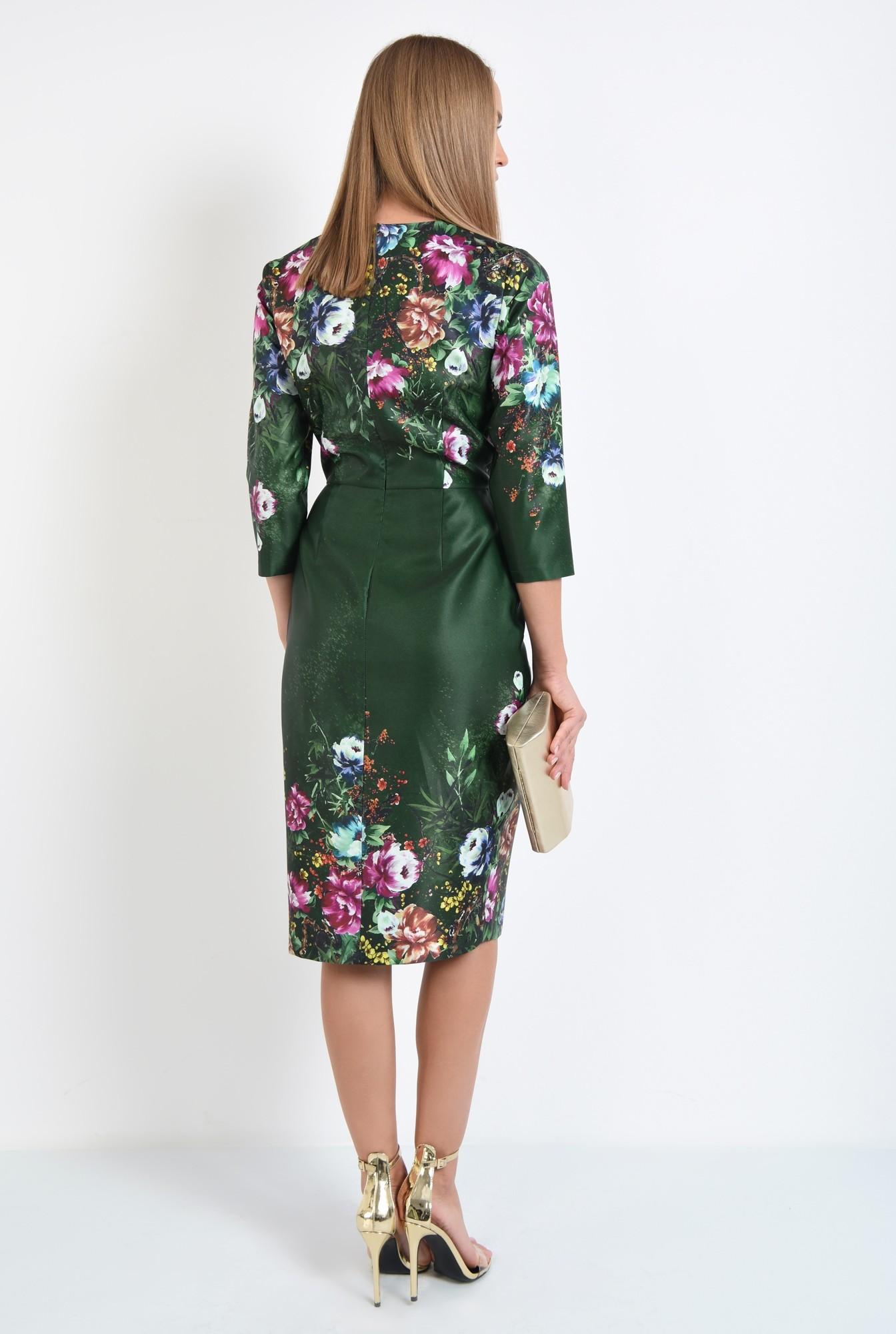 1 - rochie conica, midi, petrecuta, de ocazie, motive florale