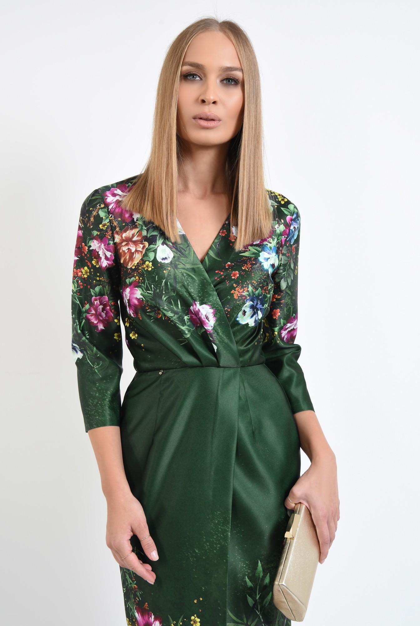 2 - rochie conica, midi, petrecuta, de ocazie, motive florale