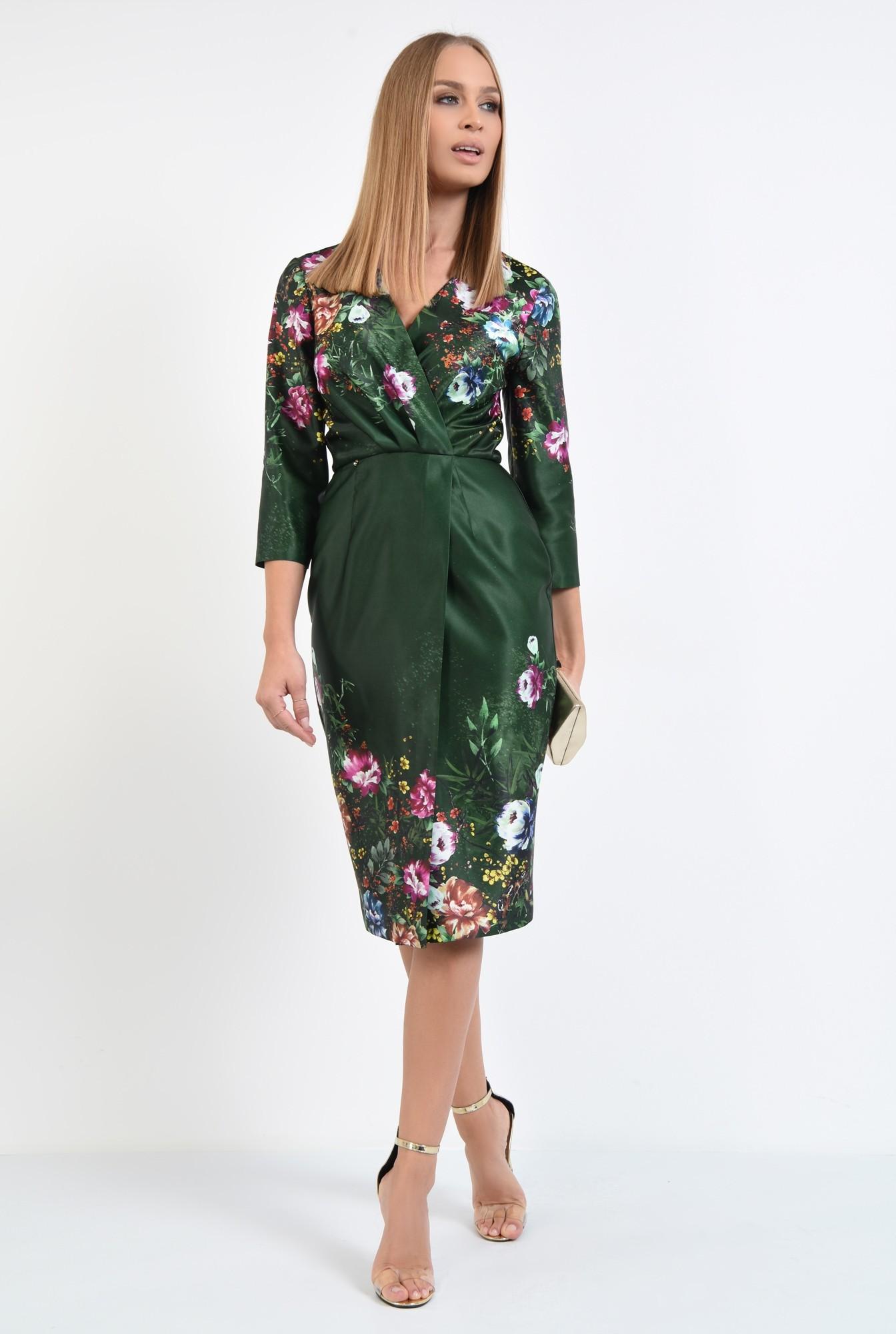 3 - rochie conica, midi, petrecuta, de ocazie, motive florale