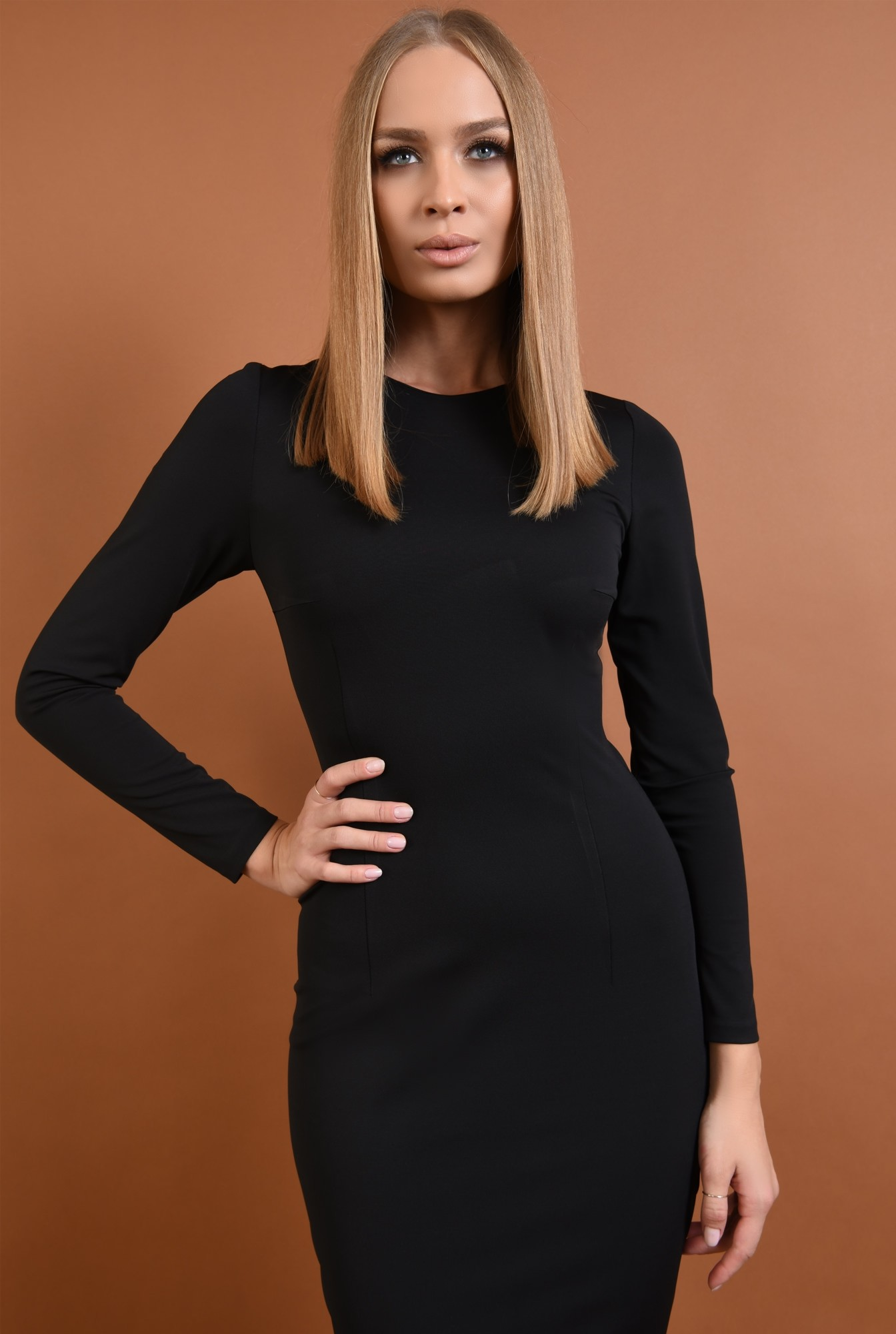 2 - 360 - rochie casual, neagra, conica, midi
