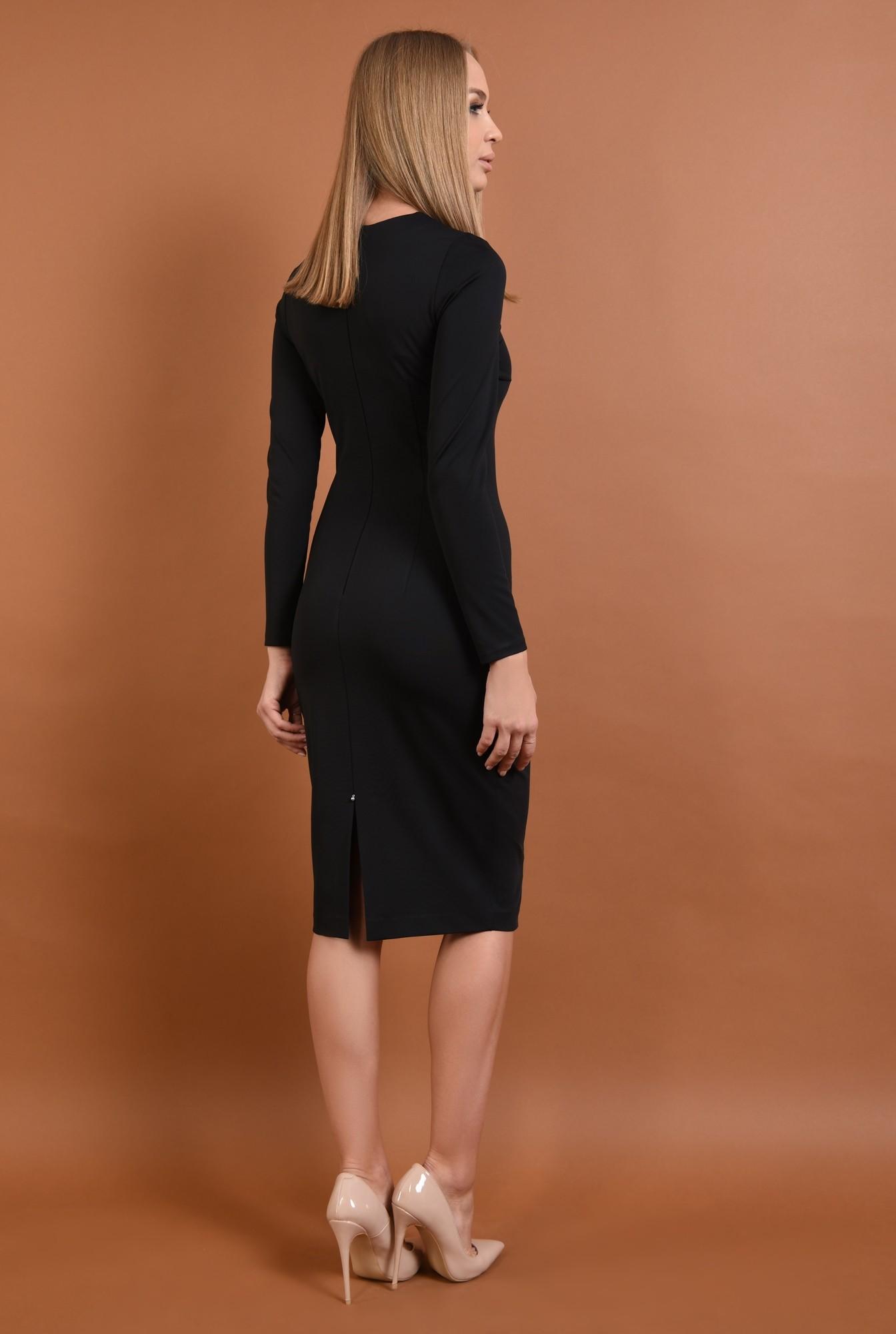 1 - 360 - rochie casual, neagra, conica, midi