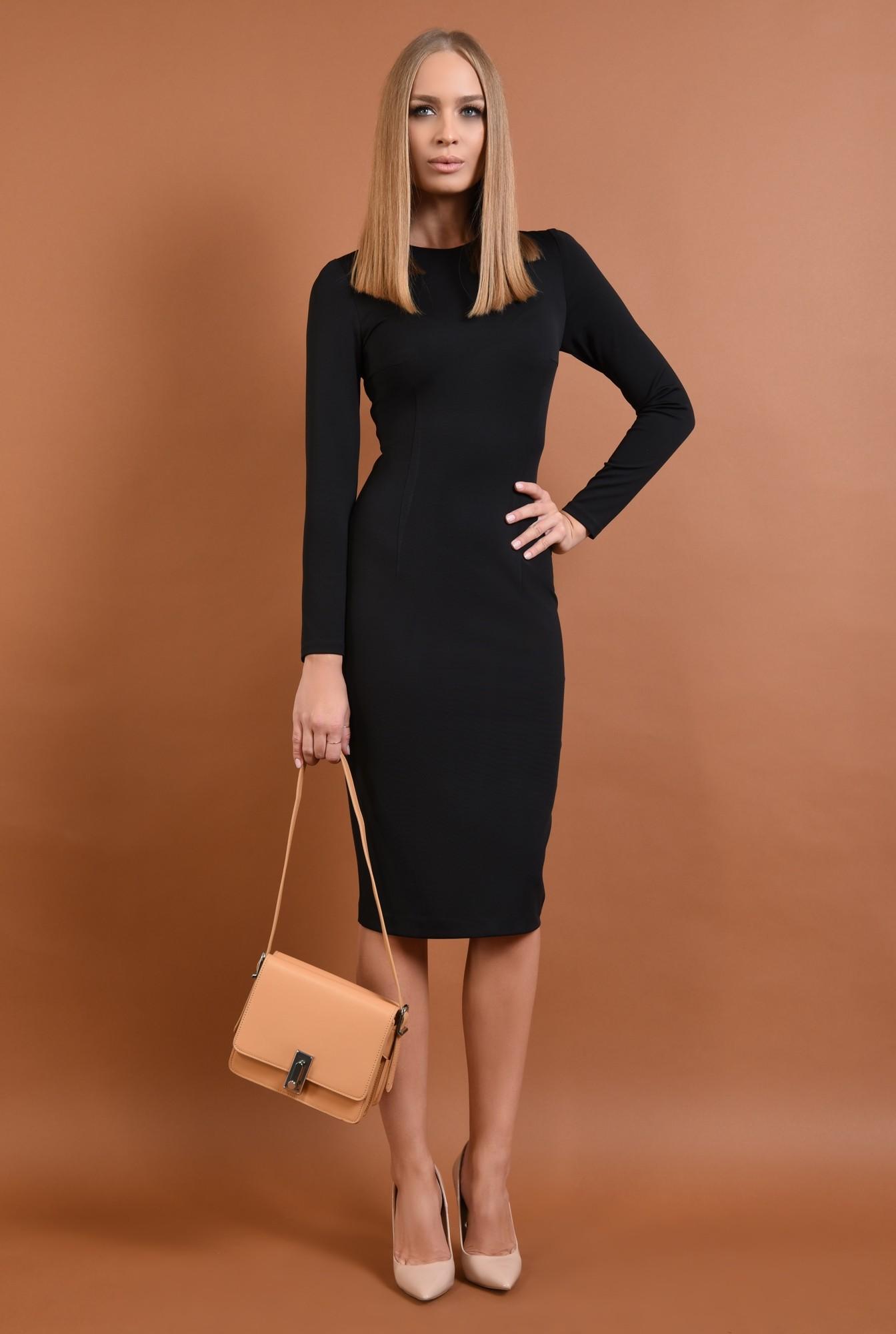 3 - 360 - rochie casual, neagra, conica, midi