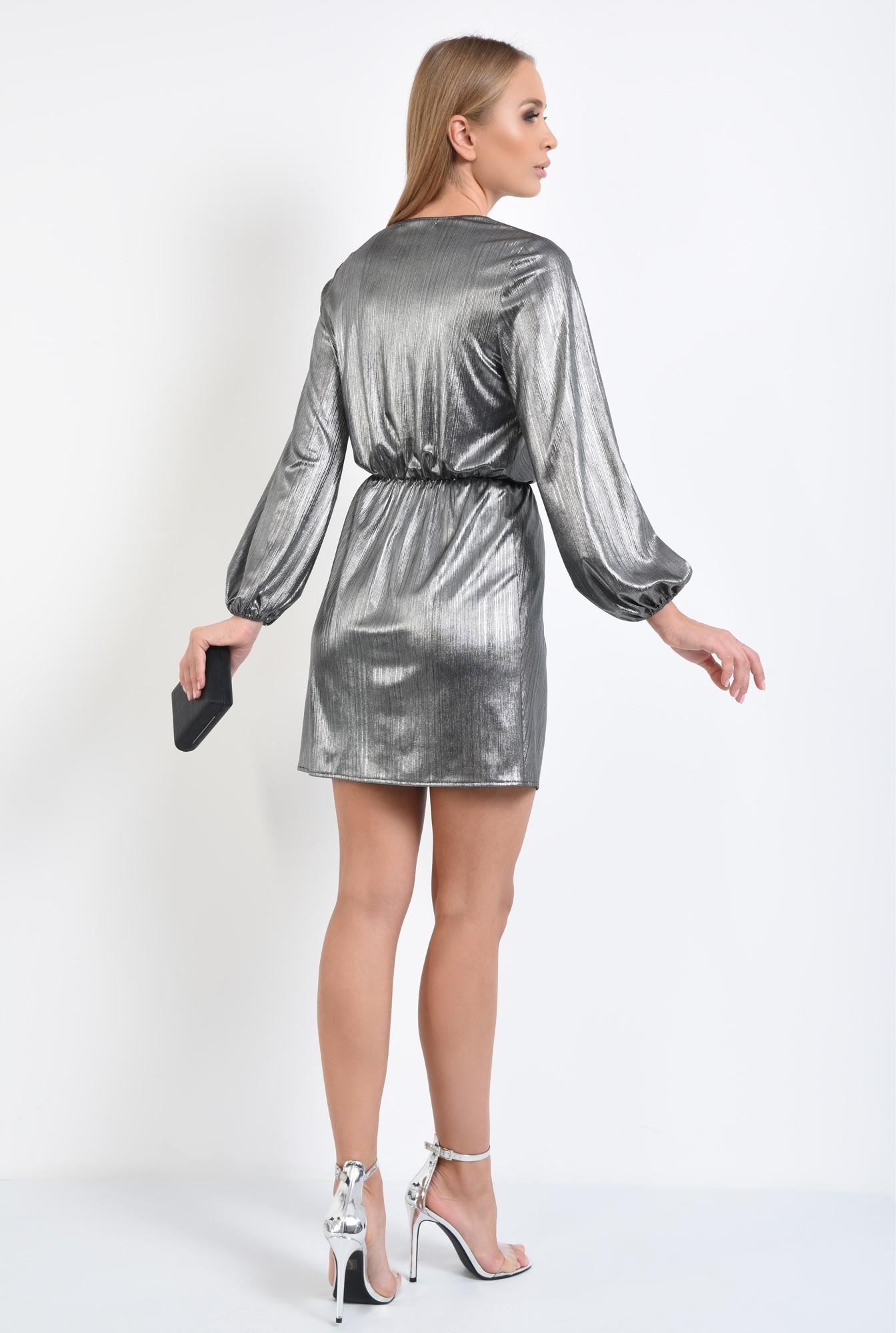 1 - rochie de seara, lurex argintiu, talie elastica, anchior petrecut