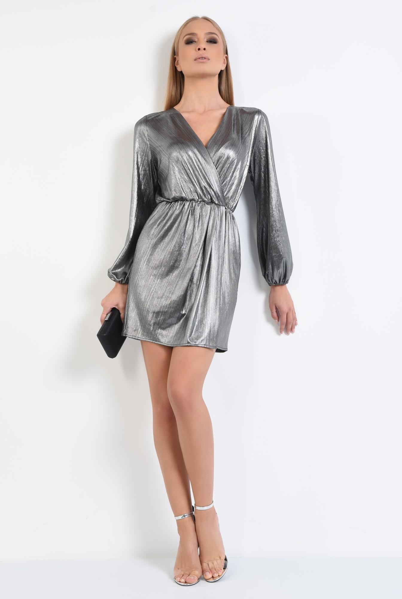 3 - rochie de seara, lurex argintiu, talie elastica, anchior petrecut