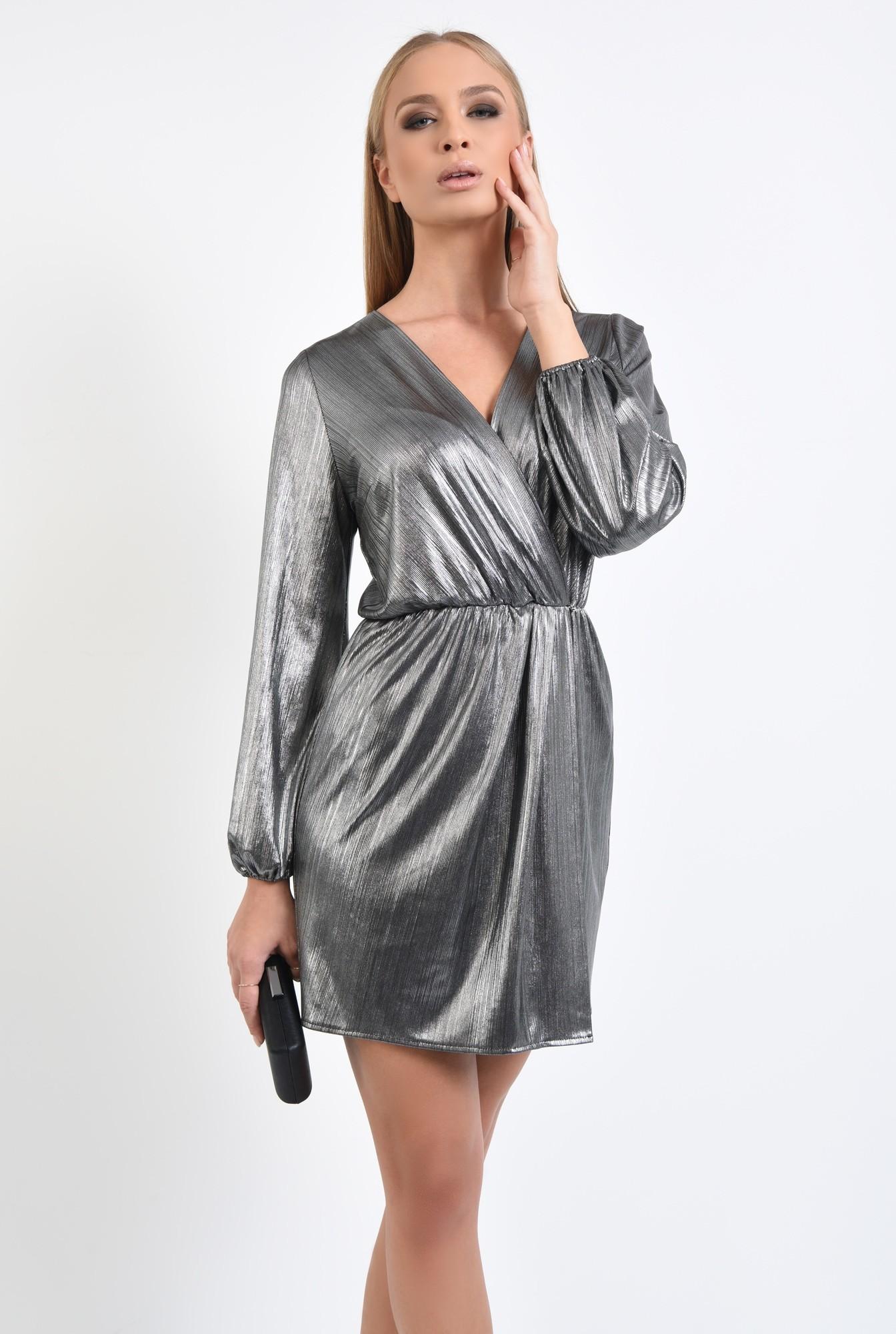 2 - rochie de seara, lurex argintiu, talie elastica, anchior petrecut