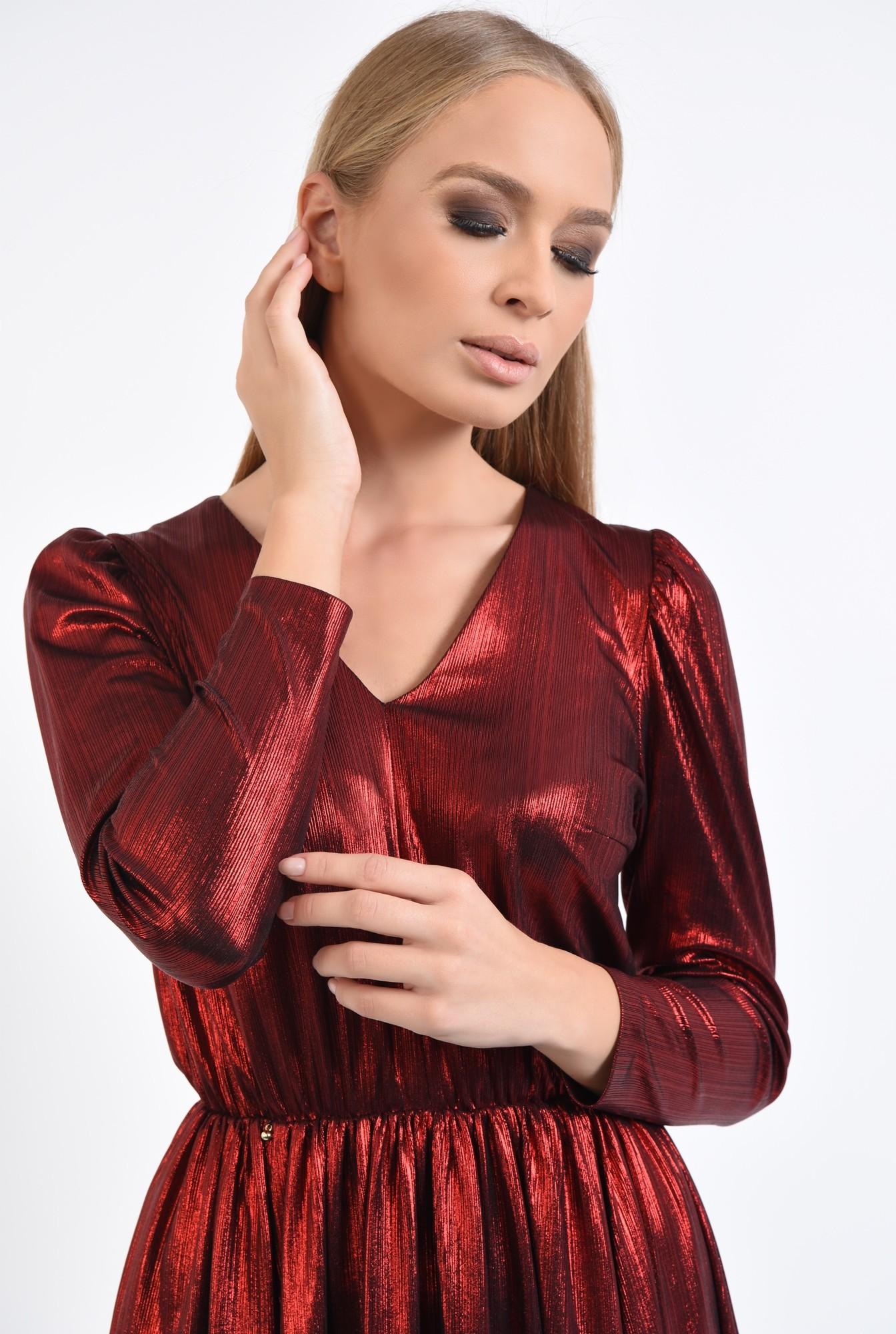 2 - 360 - rochie de seara, scurta, lurex, rosie, clos