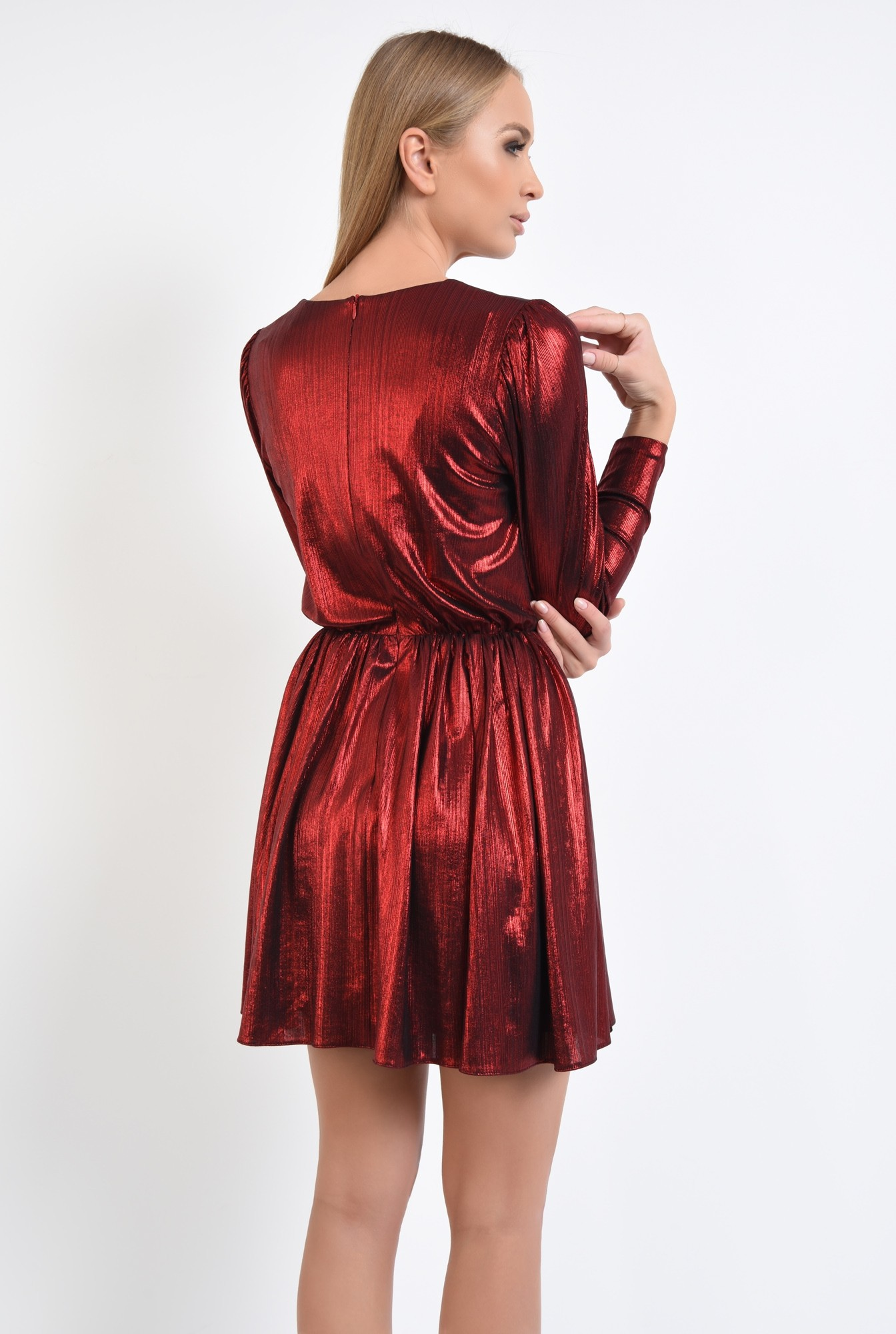1 - 360 - rochie de seara, scurta, lurex, rosie, clos