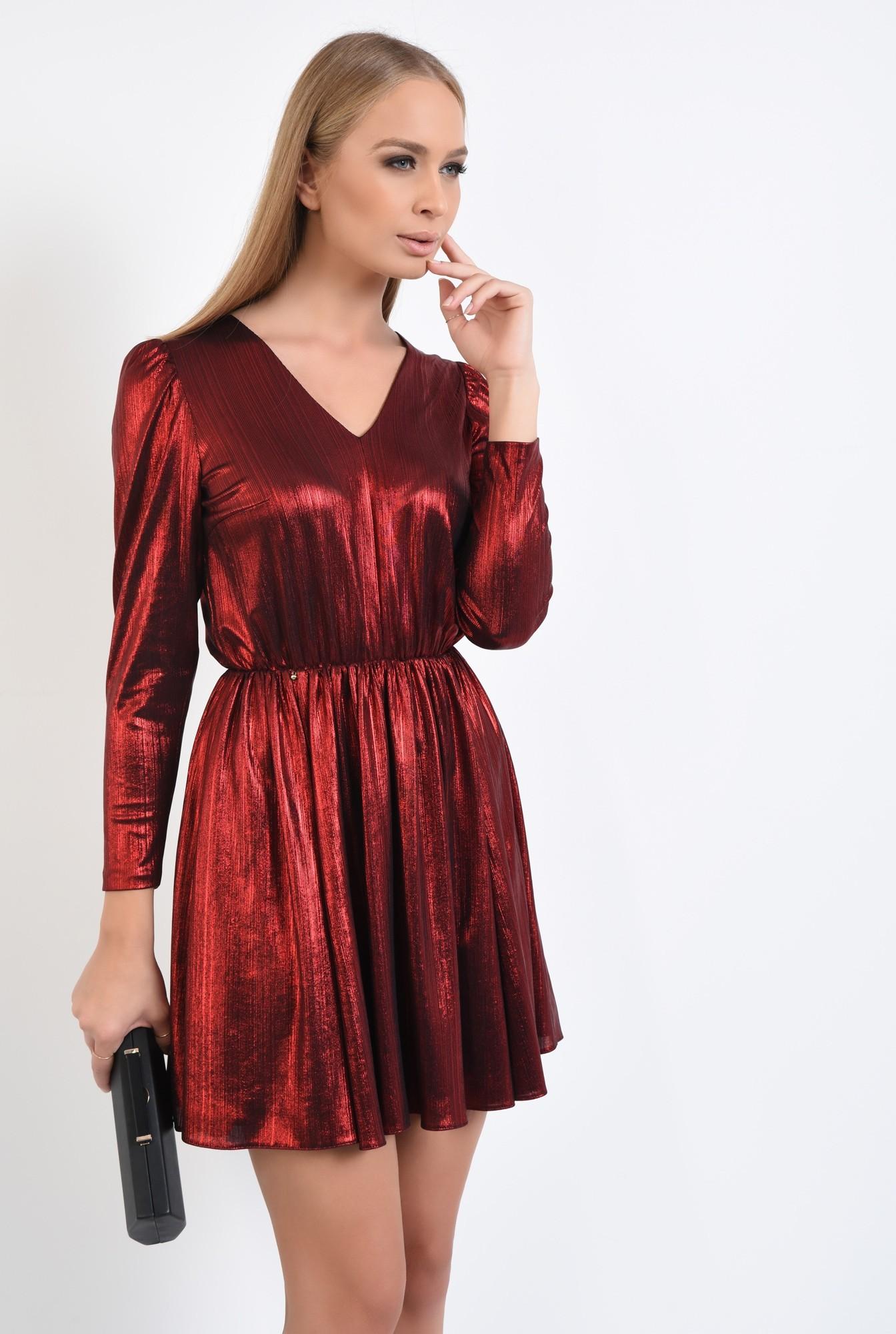 0 - 360 - rochie de seara, scurta, lurex, rosie, clos