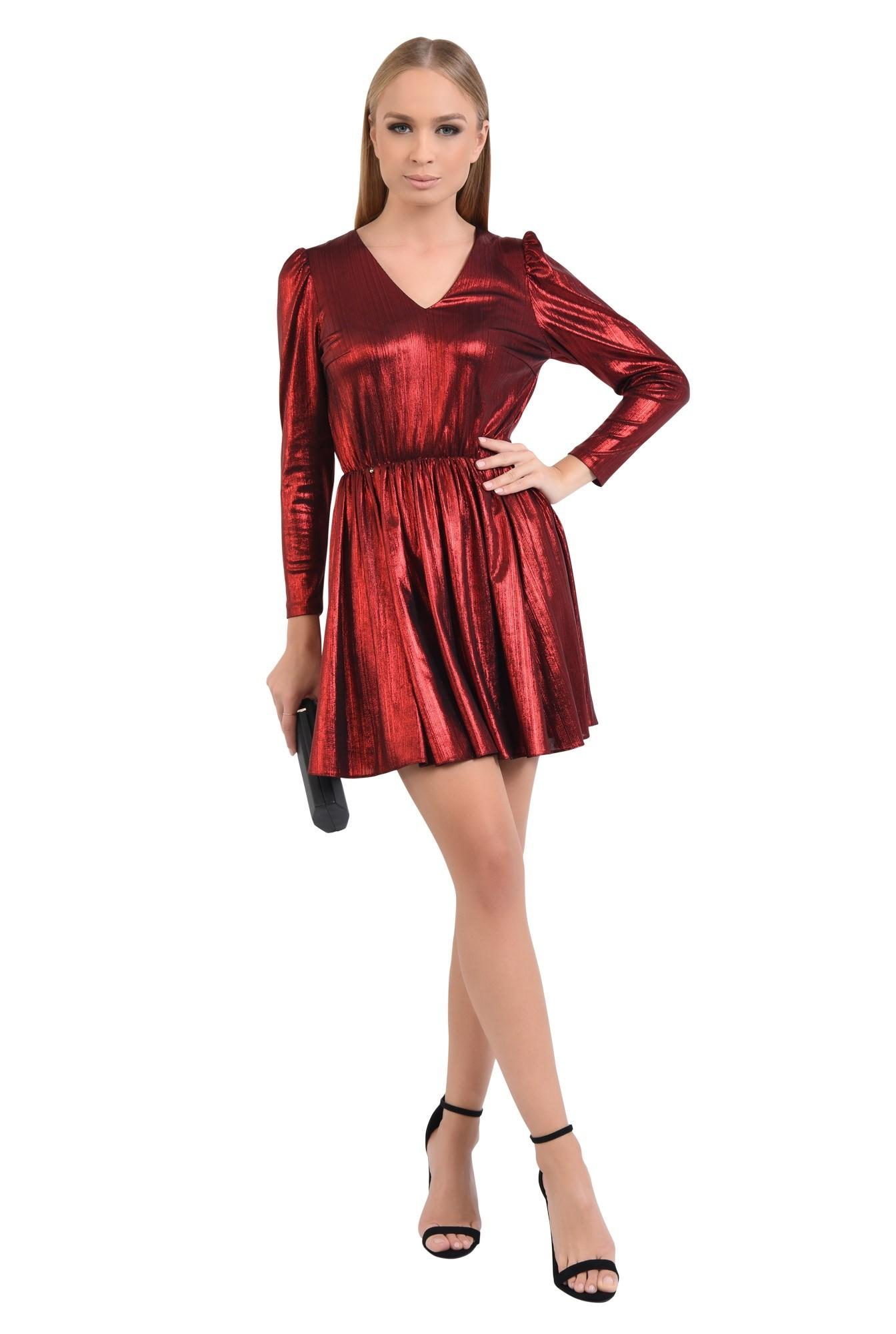 3 - 360 - rochie de seara, scurta, lurex, rosie, clos