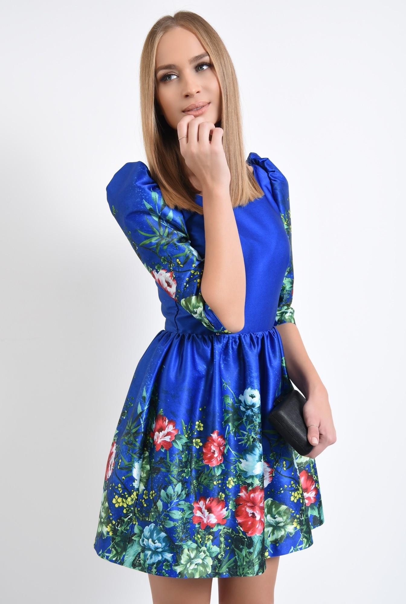 2 - rochie de ocazie, tafta cu imprimeu, albastru, flori