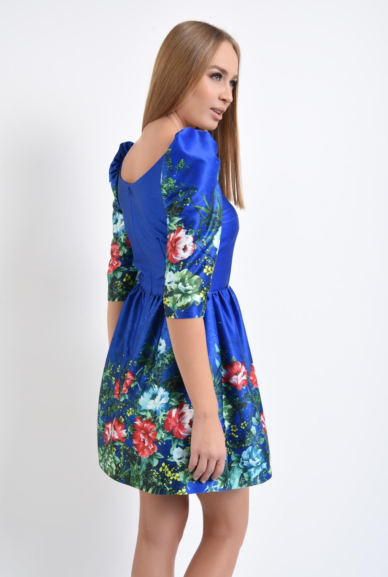 1 - rochie de ocazie, tafta cu imprimeu, albastru, flori