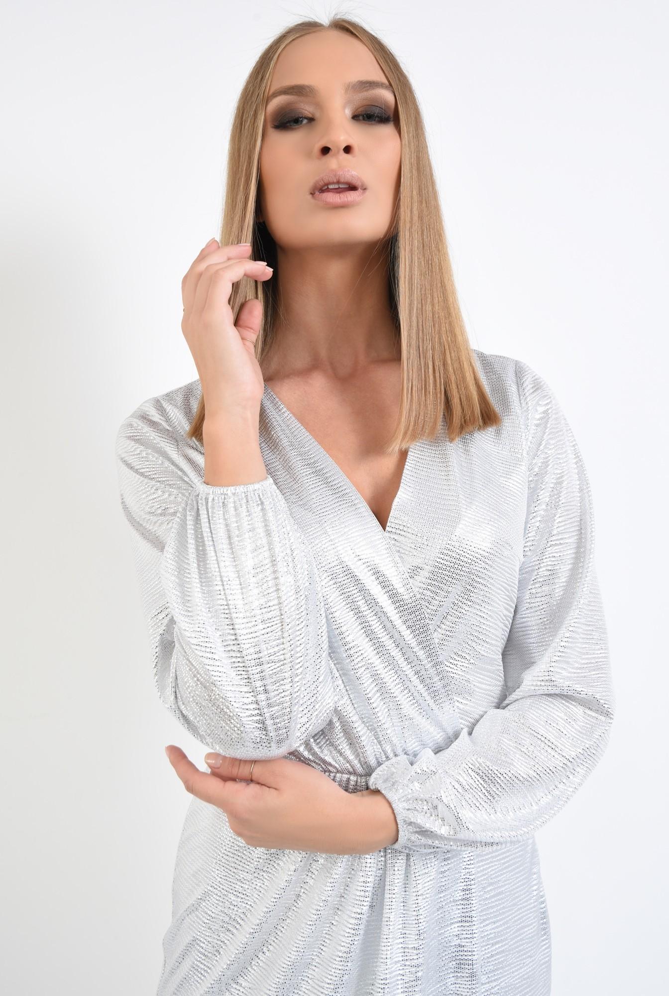 2 - rochie de seara, petrecuta, din lurex, argintie, drapata