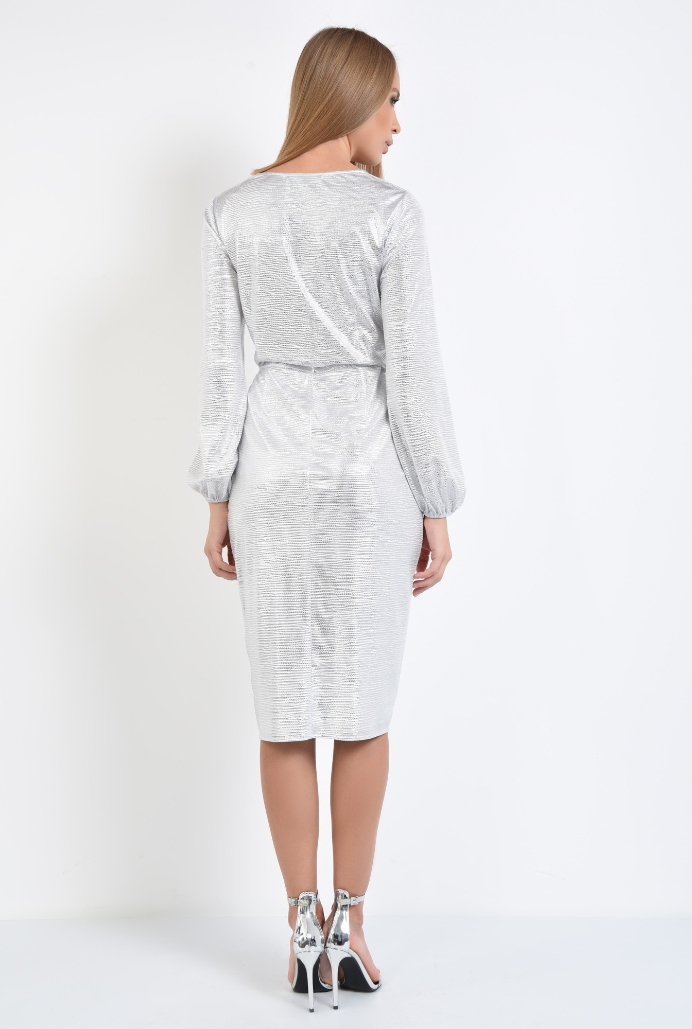 1 - rochie de seara, petrecuta, din lurex, argintie, drapata