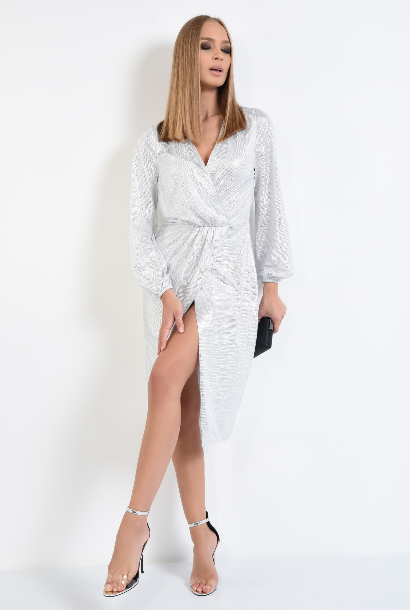 3 - rochie de seara, petrecuta, din lurex, argintie, drapata
