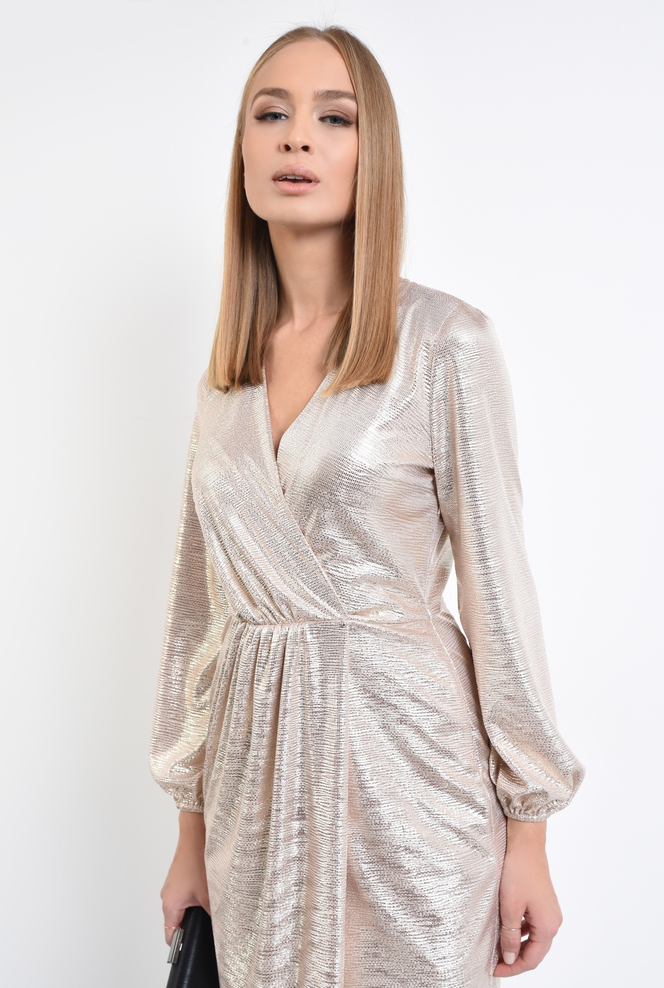 2 - rochie de ocazie, din lurex auriu, anchior, parte peste parte