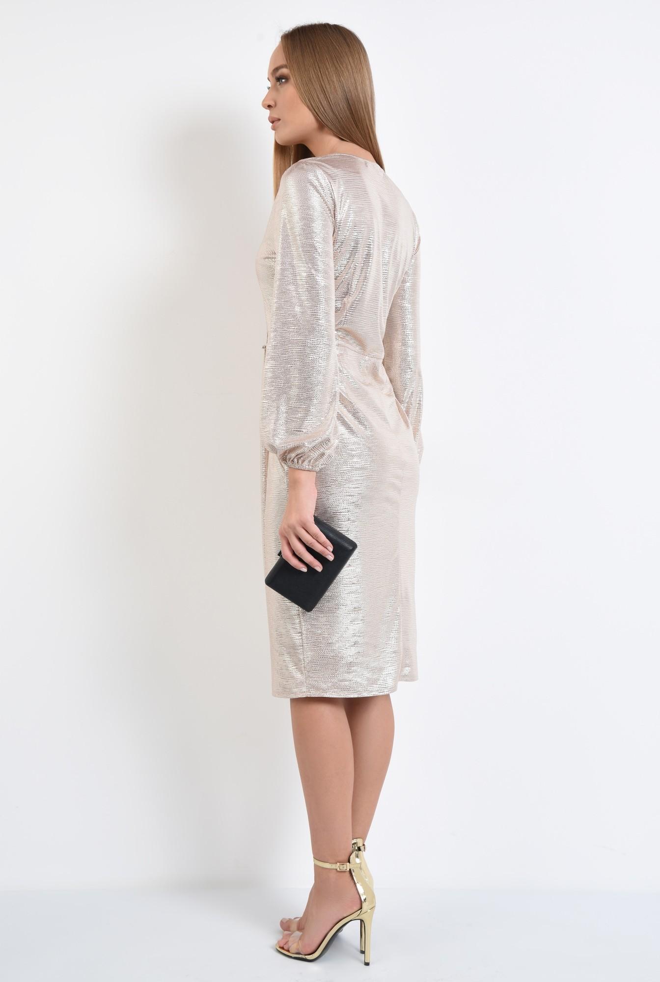 1 - rochie de ocazie, din lurex auriu, anchior, parte peste parte