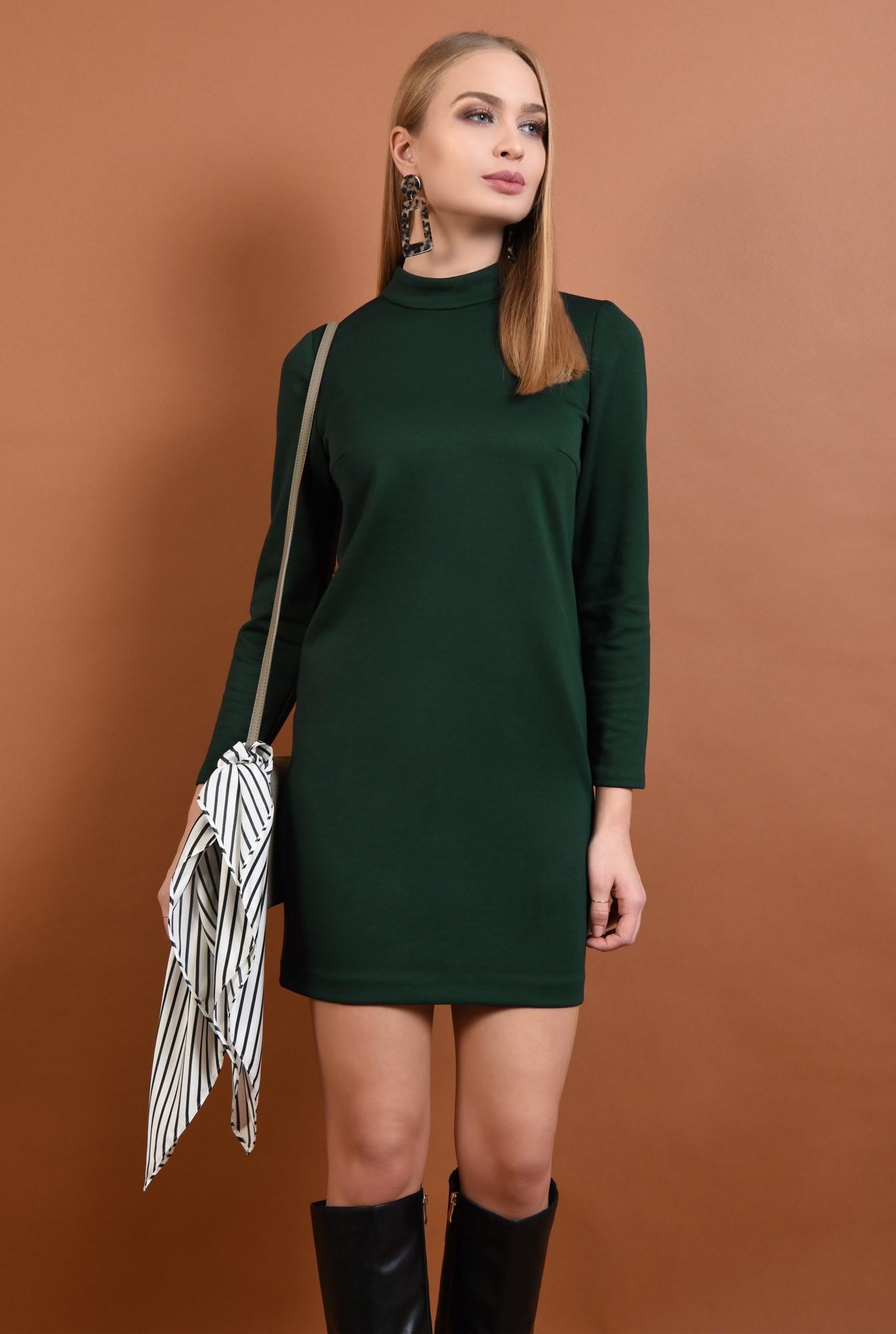 2 - 360 - rochie casual, scurta, verde, maneci lungi, guler inalt