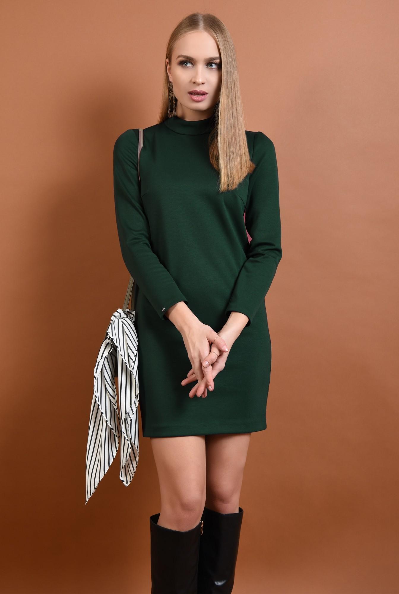 0 - 360 - rochie casual, scurta, verde, maneci lungi, guler inalt